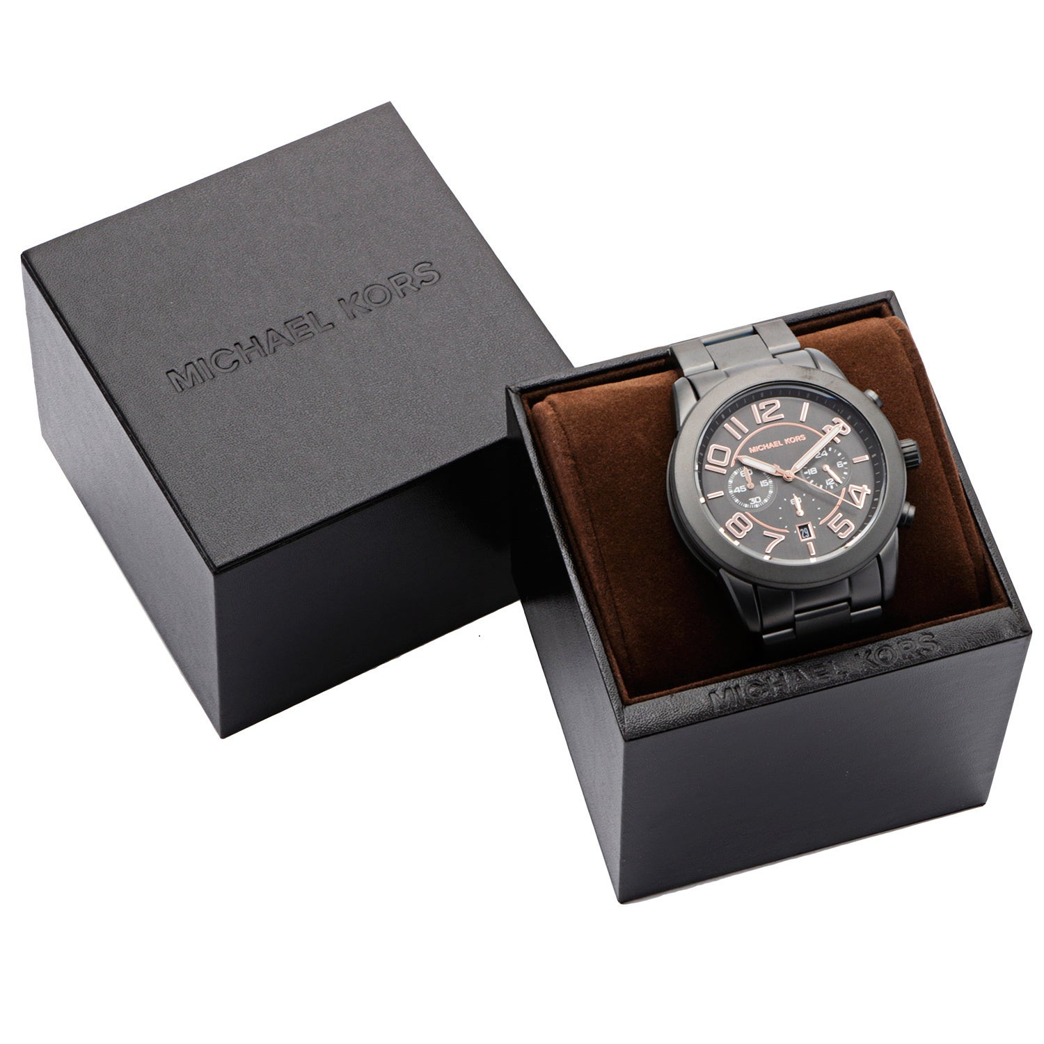 c21f76534ce8 Shop Michael Kors Men s  Mercer  Gunmetal Stainless Steel Chronograph Watch  - Free Shipping Today - Overstock - 8831600