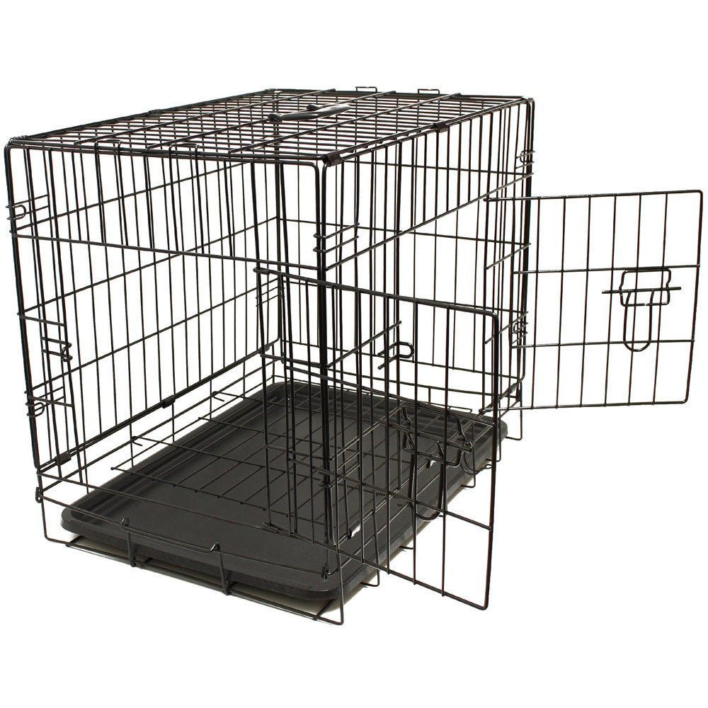 Shop Oxgord Double Door Black Metal Pet Crate   Free Shipping On Orders  Over $45   Overstock.com   8837110
