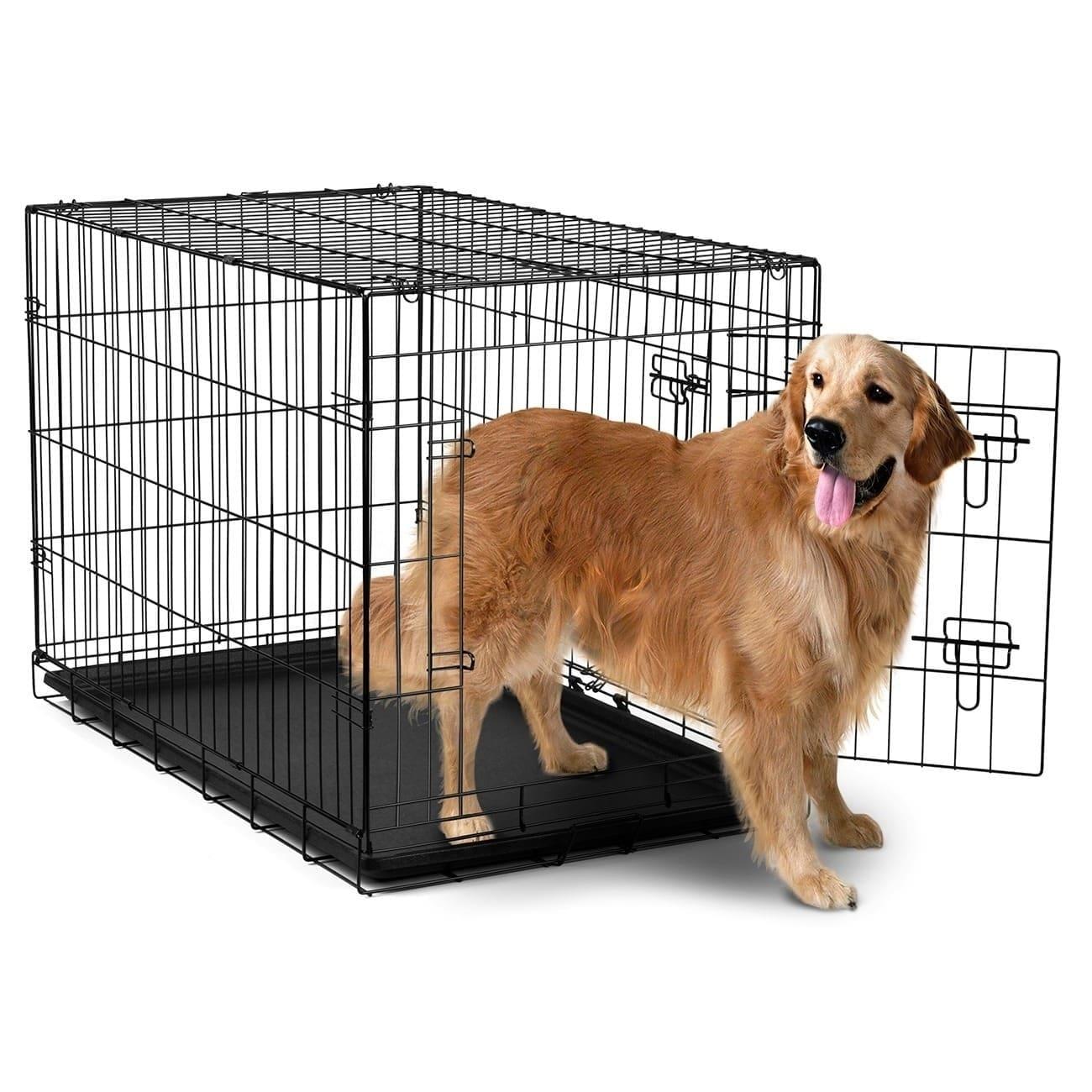 Shop Oxgord Double Door Black Metal Pet Crate - Free Shipping On ...
