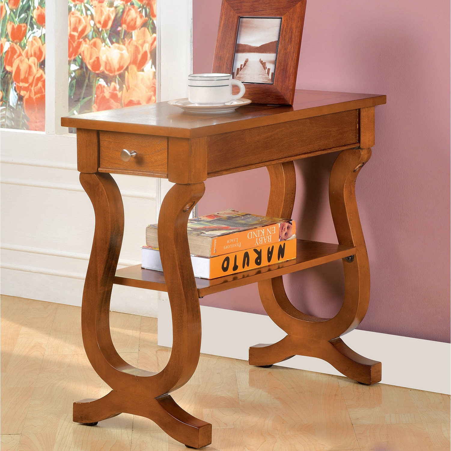 Furniture Of America Antique Oak Belton Side Table With Storage Drawer    Free Shipping Today   Overstock   16069642