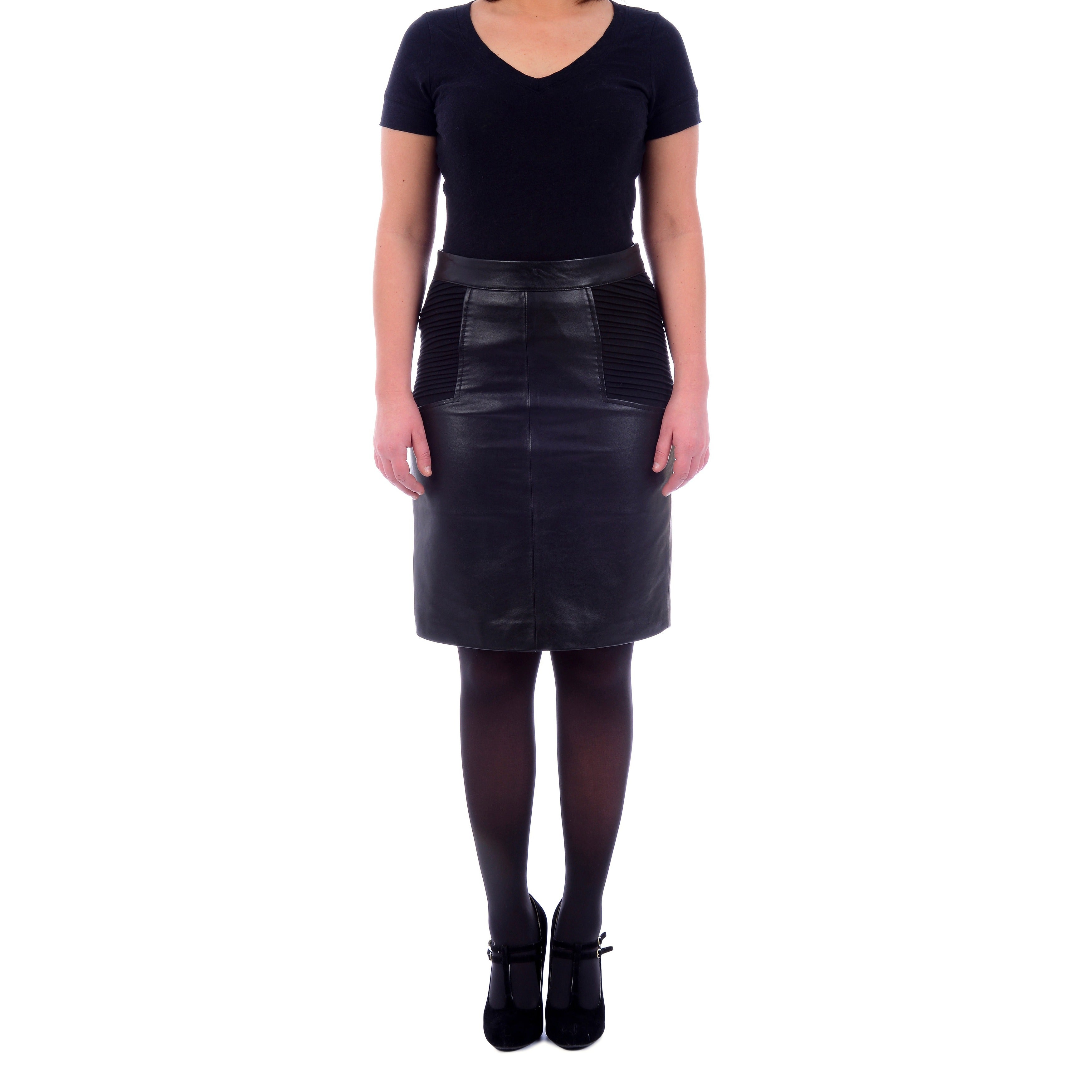 Excelled Women's Leather Skirt with Knit Inserts - Free Shipping Today -  Overstock.com - 16070615