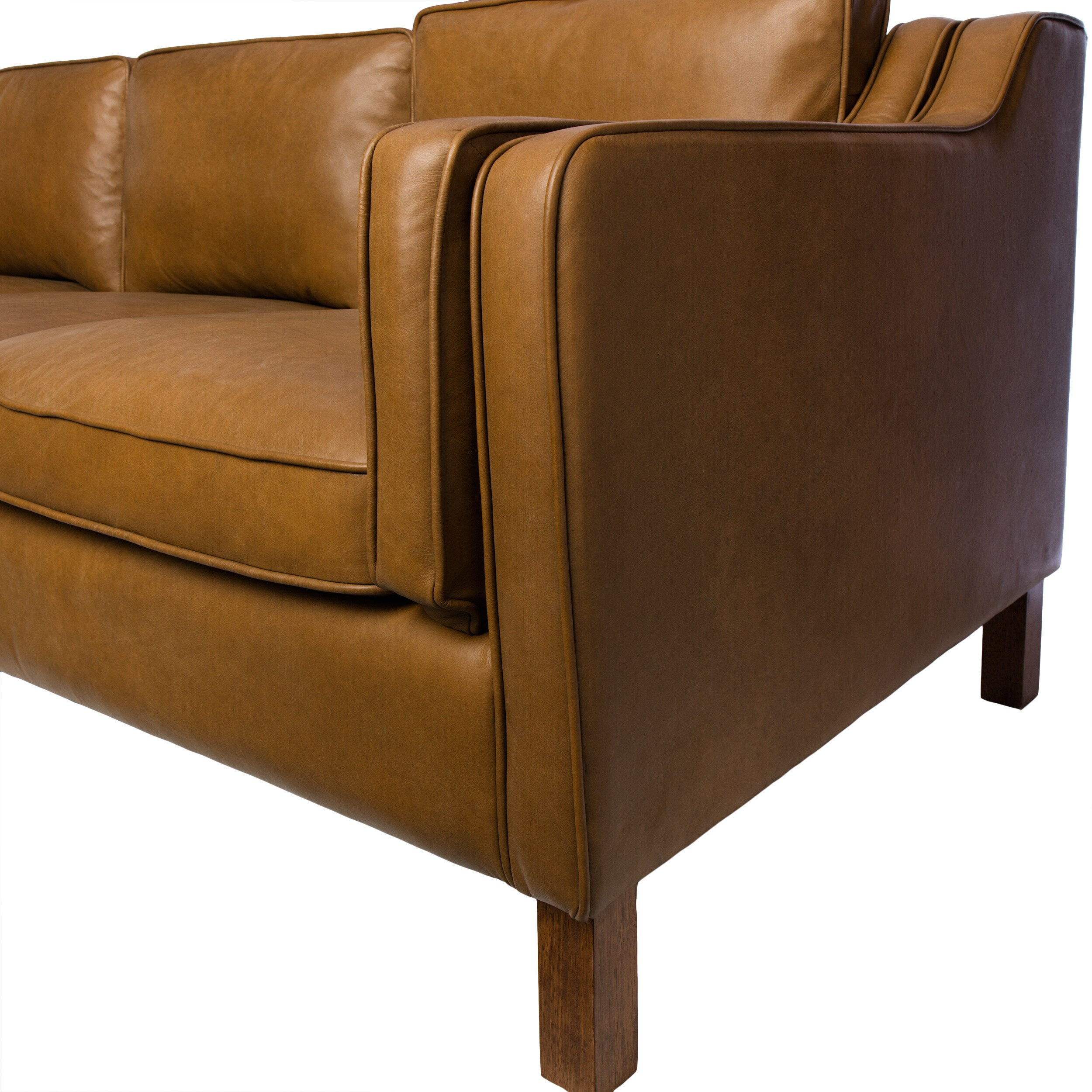 Canape 86 Inch Oxford Honey Leather Sofa   Free Shipping Today    Overstock.com   16070447