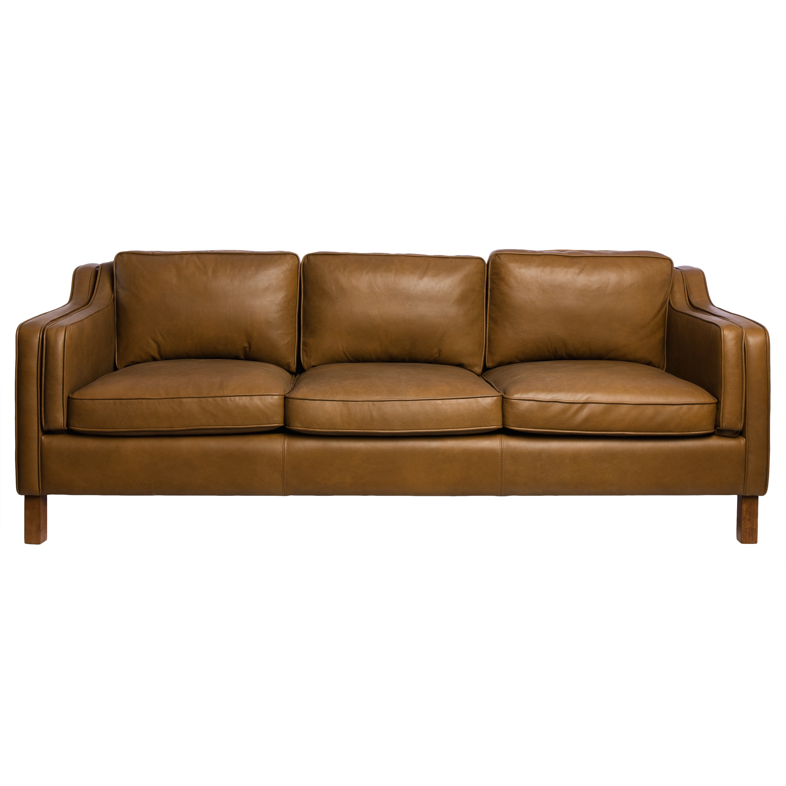 Jasper Laine Canape 86 Inch Oxford Honey Leather Sofa Free Shipping Today 8840197