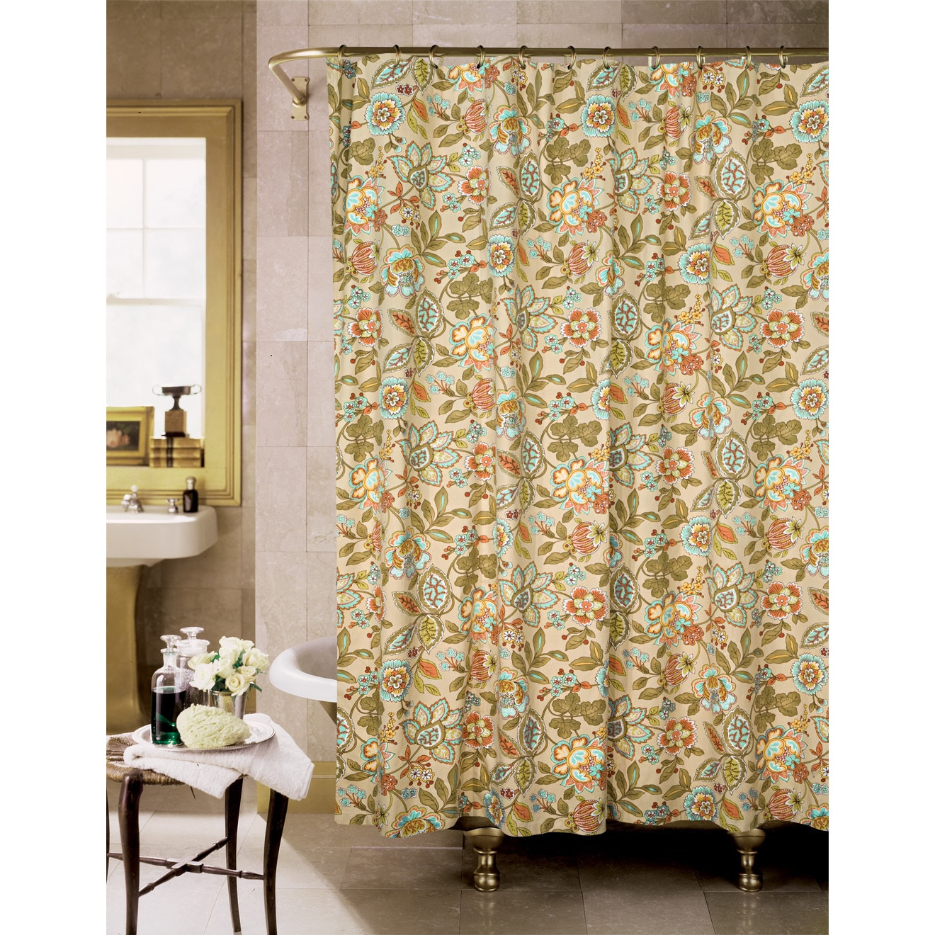 Shop Tuscan Garden Cotton Shower Curtain - Free Shipping On Orders ...