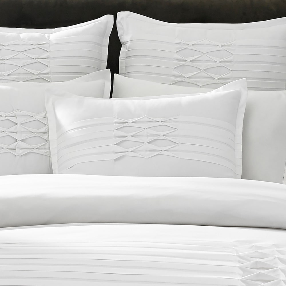 sk white pinch itm doona duvet qcs giselle diamond pinched bedding set pleat size wh quilt cover diam all