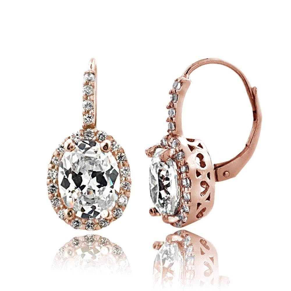 Icz Stonez 4ct Cubic Zirconia Oval Halo Leverback Earrings Free Shipping On Orders Over 45 16073358