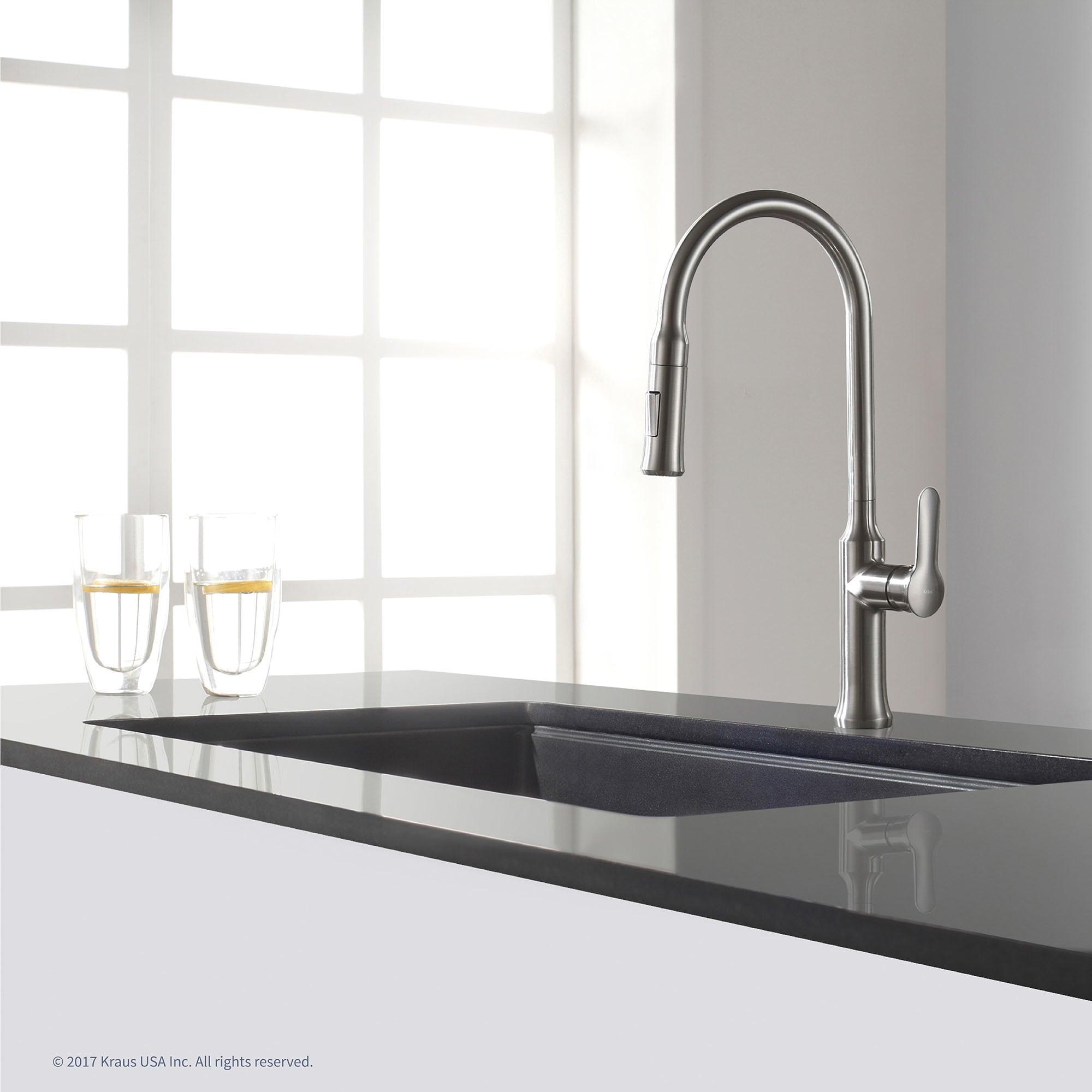 KRAUS 31-inch Undermount Single Bowl Black Onyx Granite Kitchen Sink ...