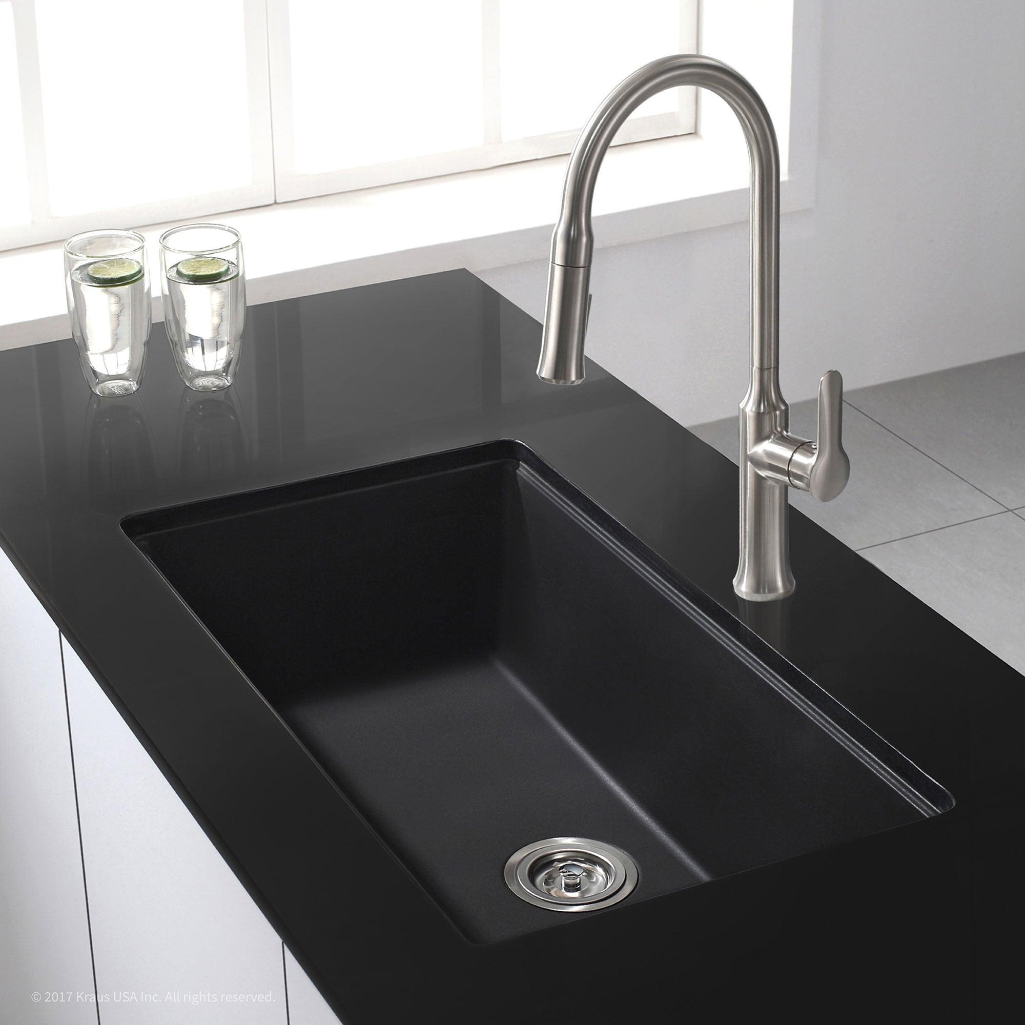Kraus 31 inch undermount single bowl black onyx granite kitchen sink kraus 31 inch undermount single bowl black onyx granite kitchen sink free shipping today overstock 16073796 workwithnaturefo