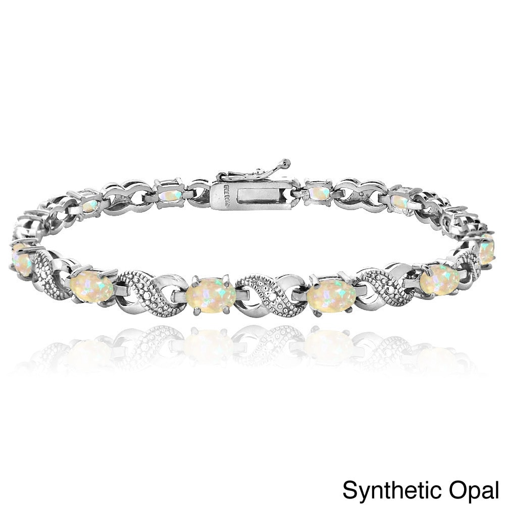 Silver Tone 6ct TGW Colored Cubic Zirconia & Diamond Accent Infinity Bracelet QBWUlY17Gn
