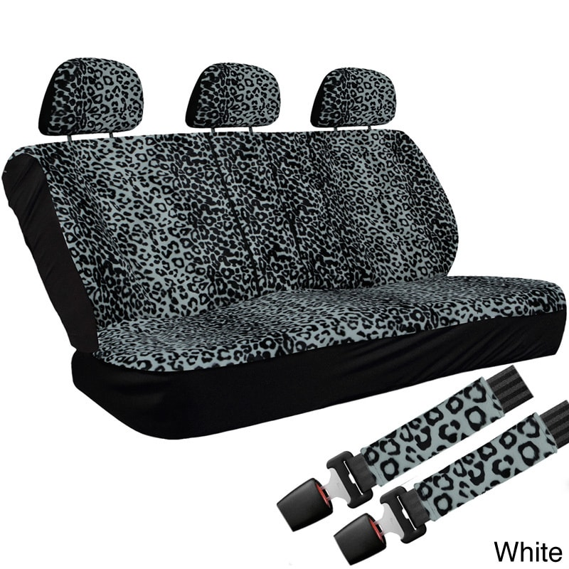 Oxgord Cheetah Leopard 60 40 Split Bench 8 Piece Seat Cover Set