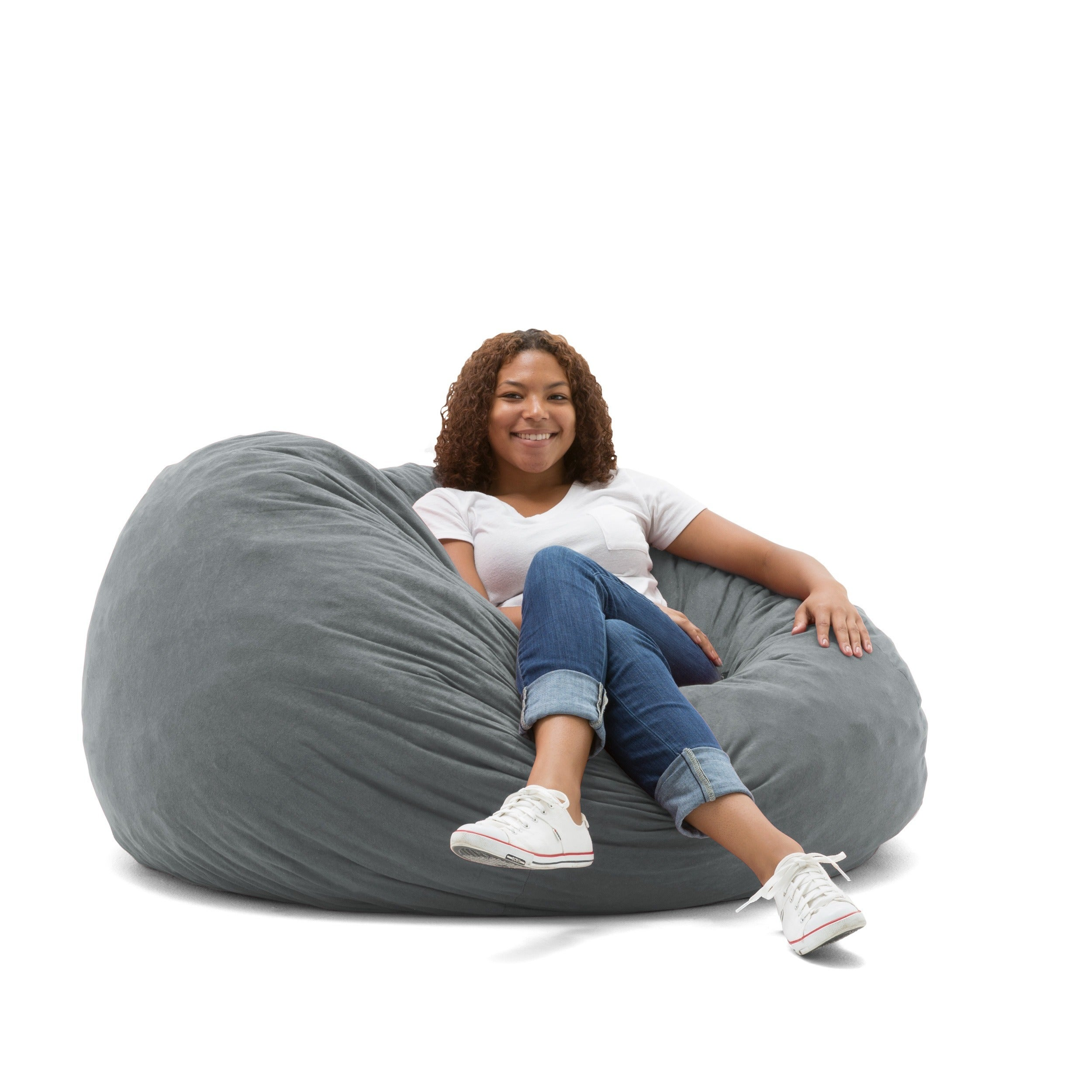 FufSack 4 Foot Large Memory Foam/ Microfiber Bean Bag Chair   Free Shipping  Today   Overstock   16076148