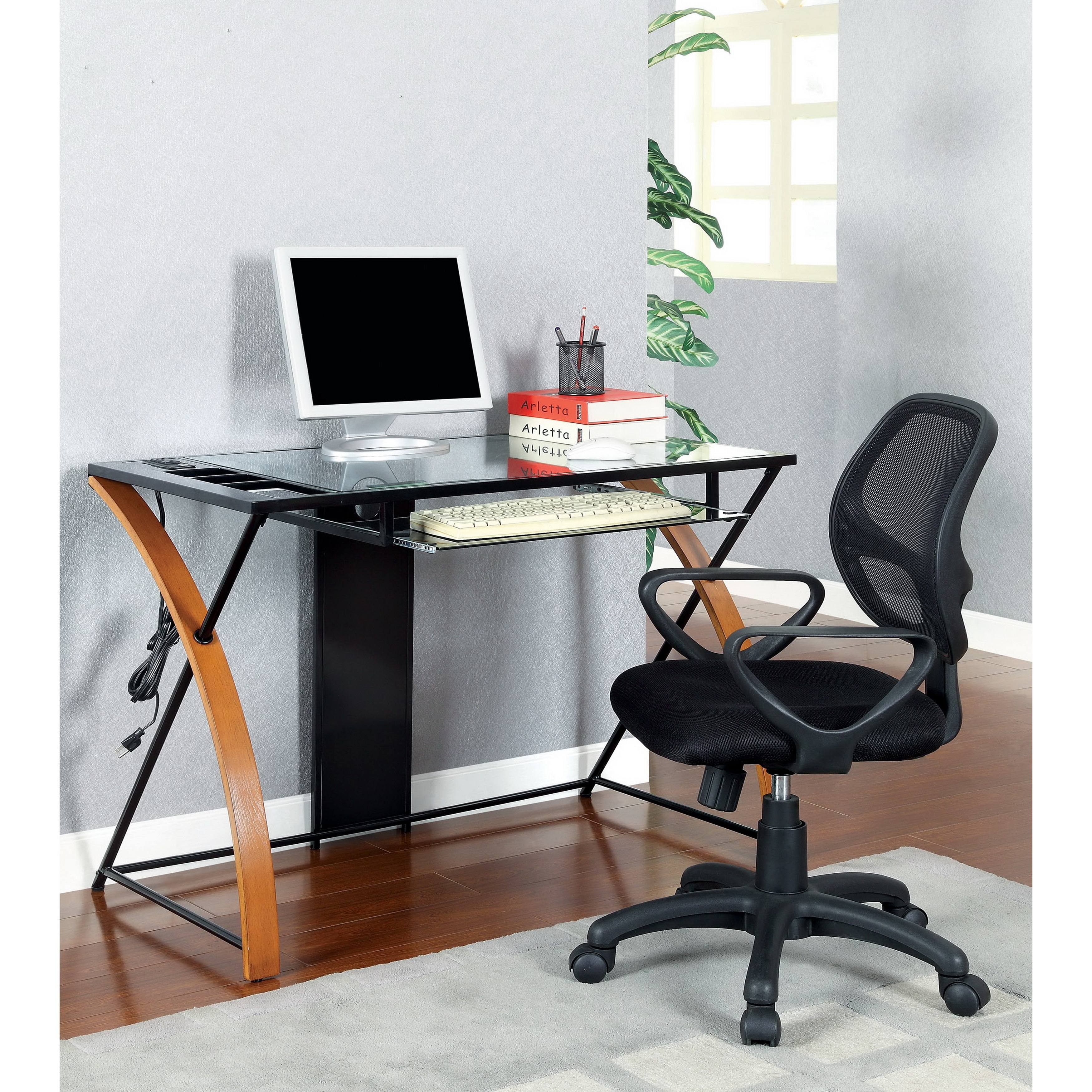 Sira Modern Tempered Gl Computer Desk Free Shipping Today