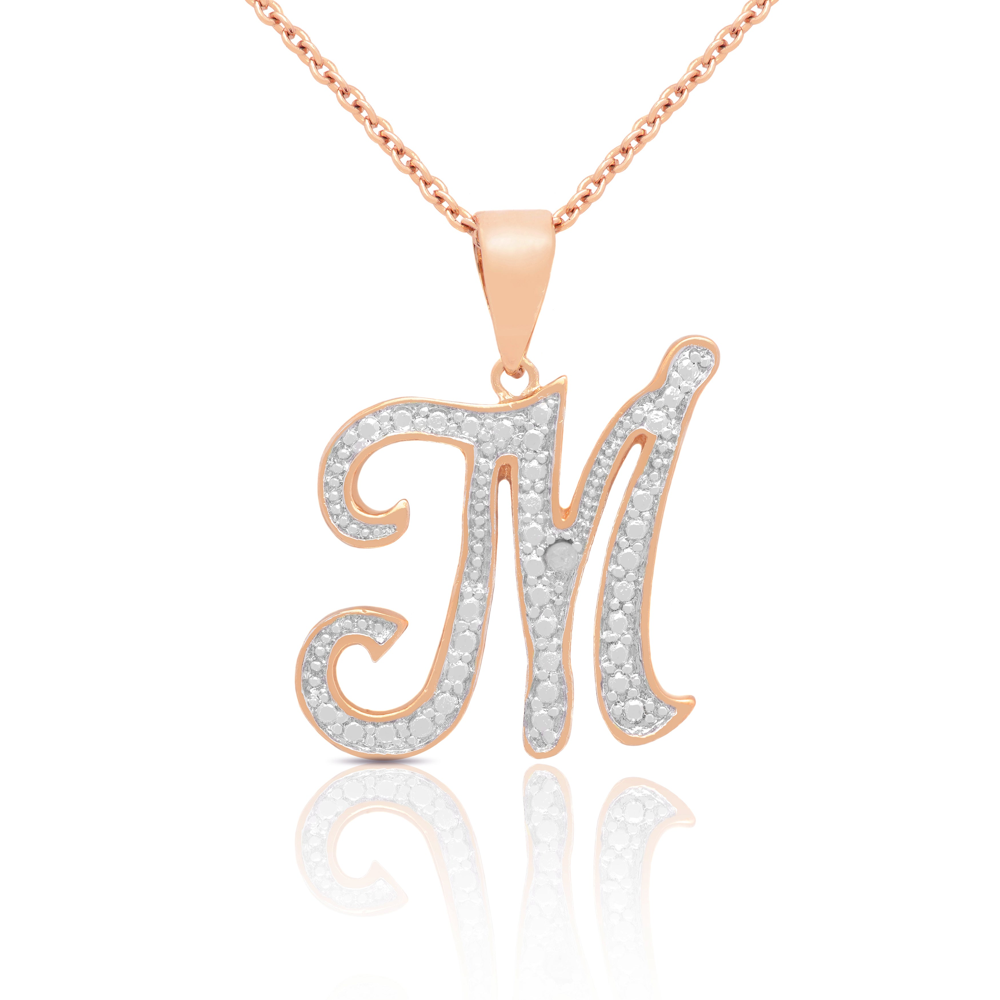 3413941d7 Shop 14k Gold Overlay Diamond Accent Initial Pendant Necklace - On Sale -  Free Shipping On Orders Over $45 - Overstock - 8847029