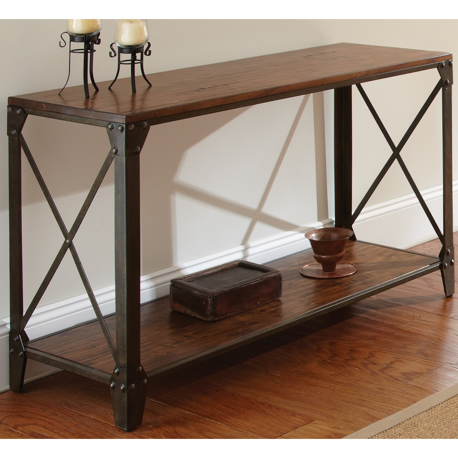 Shop Carbon Loft Fischer Solid Wood and Iron Rustic Sofa Table - On ...