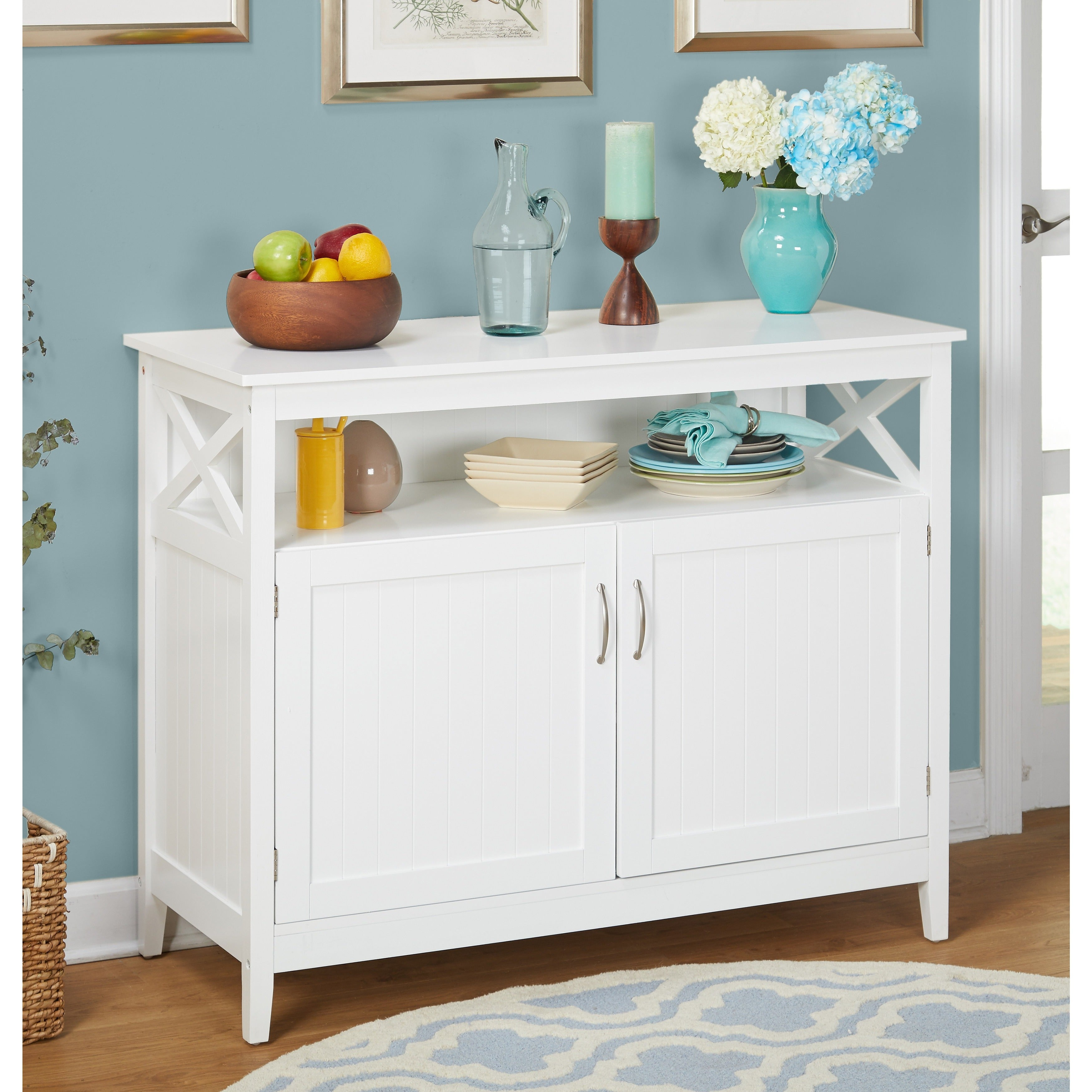 Shop Simple Living Southport White Beadboard Buffet - Free Shipping ...