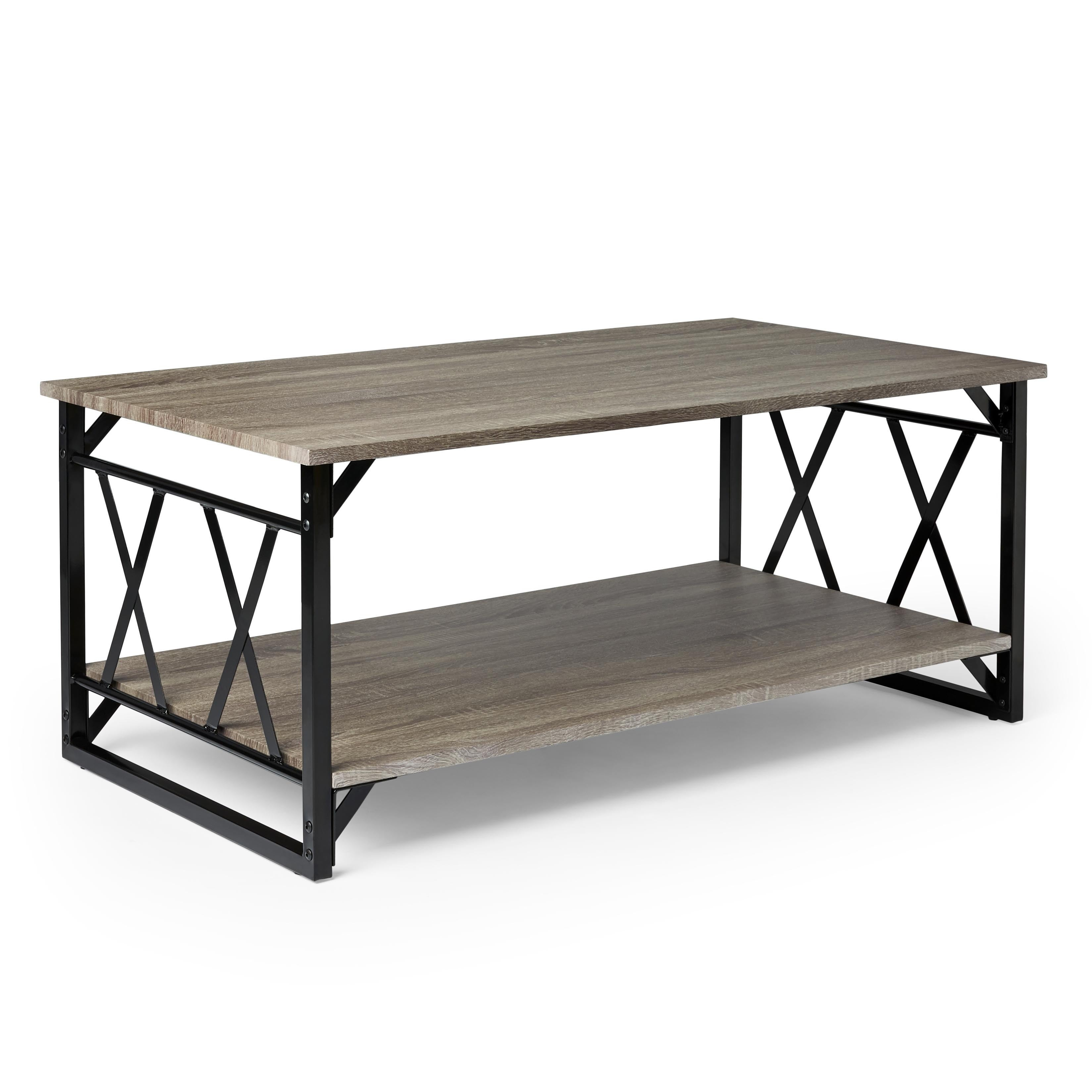 Shop Reclaimed Style Grey Coffee Table with Double \'X\' Frame - On ...