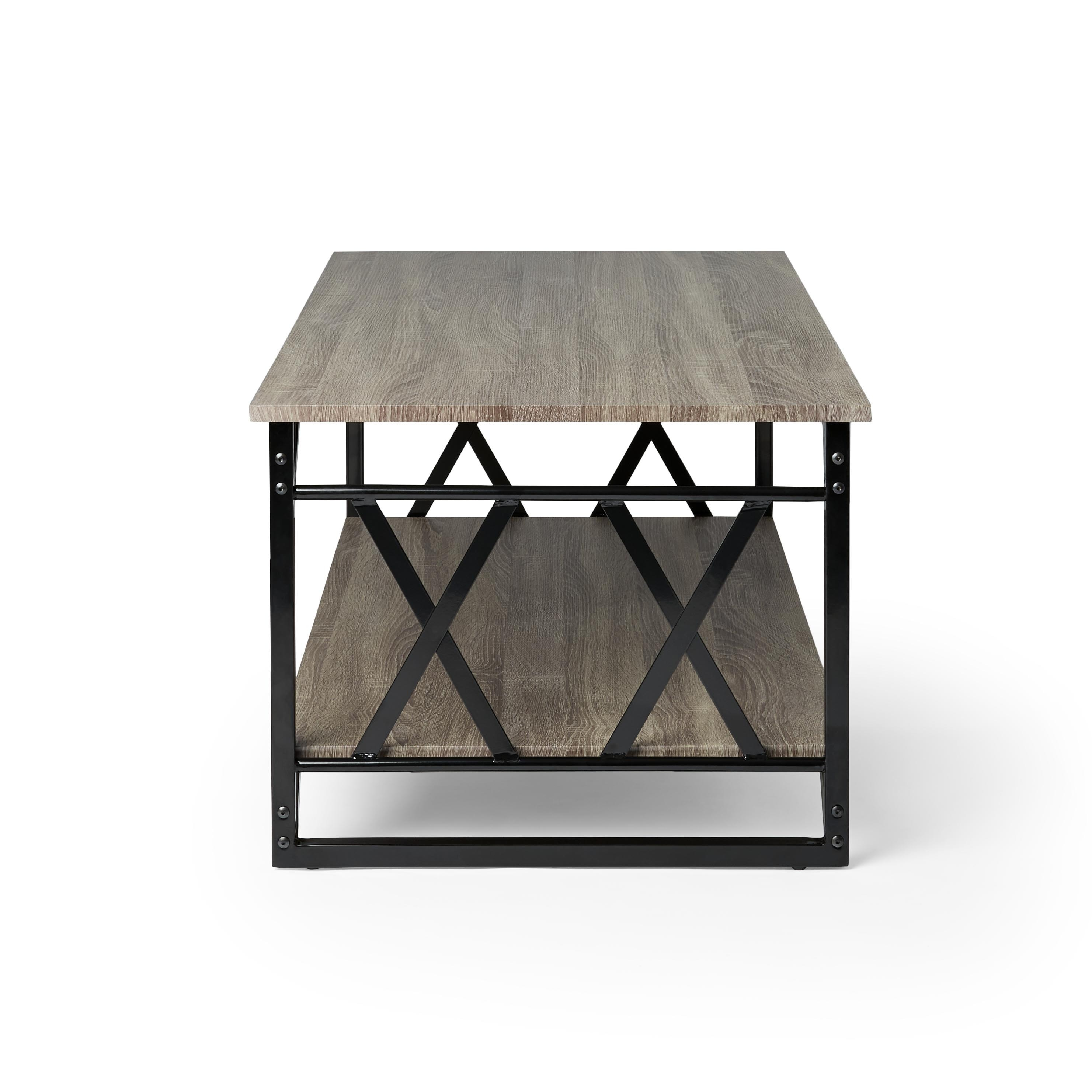 Reclaimed Style Grey Coffee Table With Double U0027Xu0027 Frame   N/A   Free  Shipping Today   Overstock.com   16076522