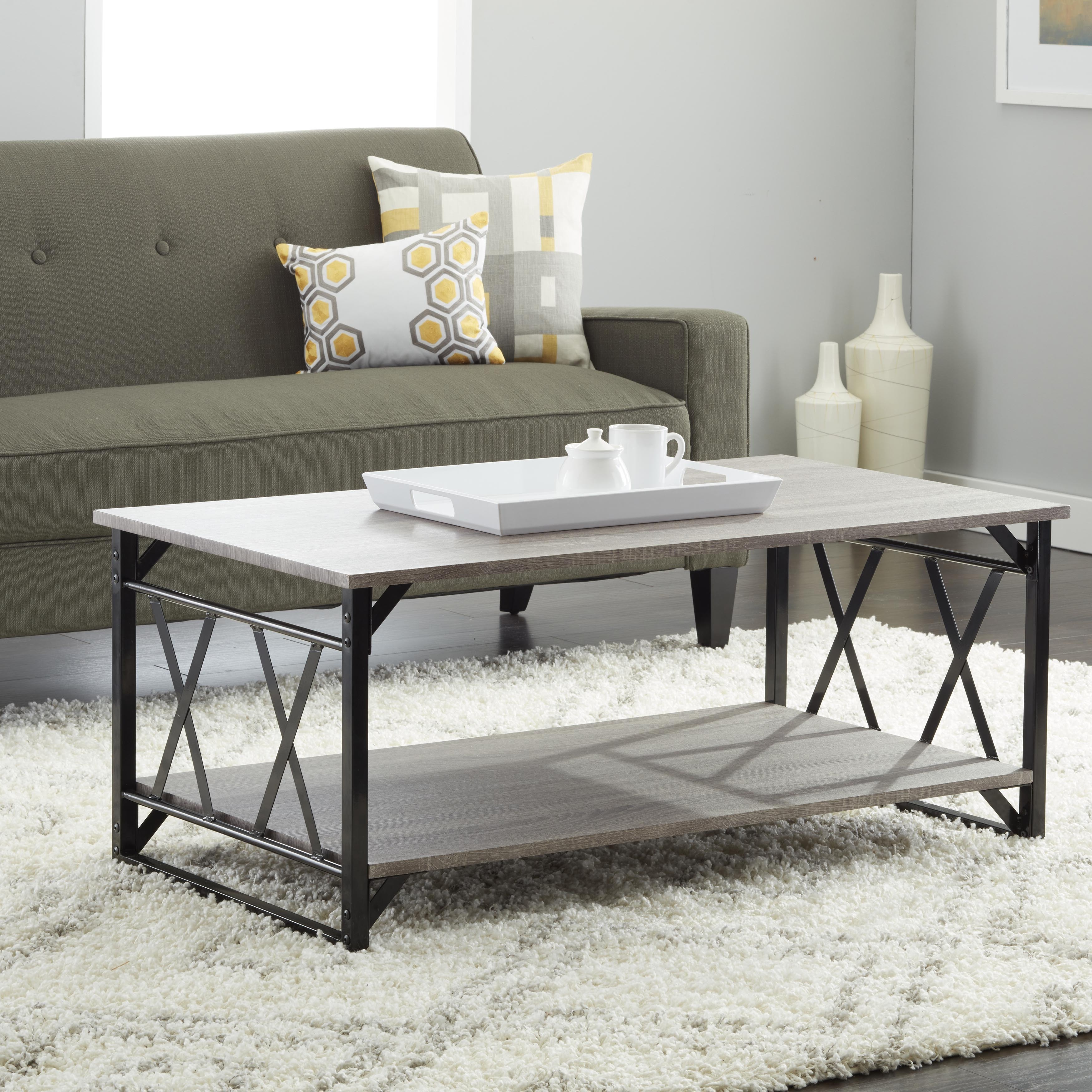 Shop Reclaimed Style Grey Coffee Table With Double U0027Xu0027 Frame   Free  Shipping Today   Overstock.com   8847268