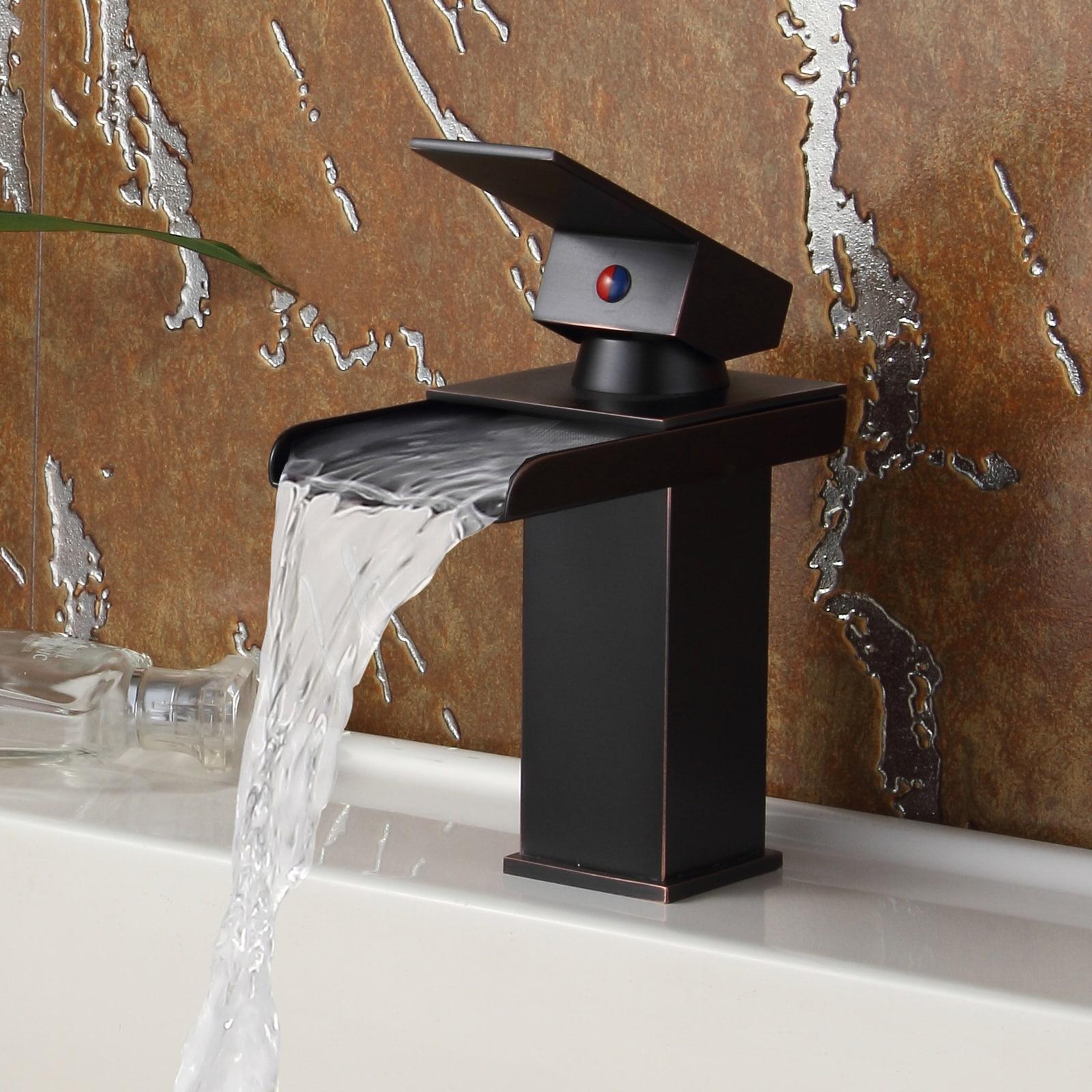 Shop Elite Oil Rubbed Bronze Water Fall Design Single Lever Basin ...