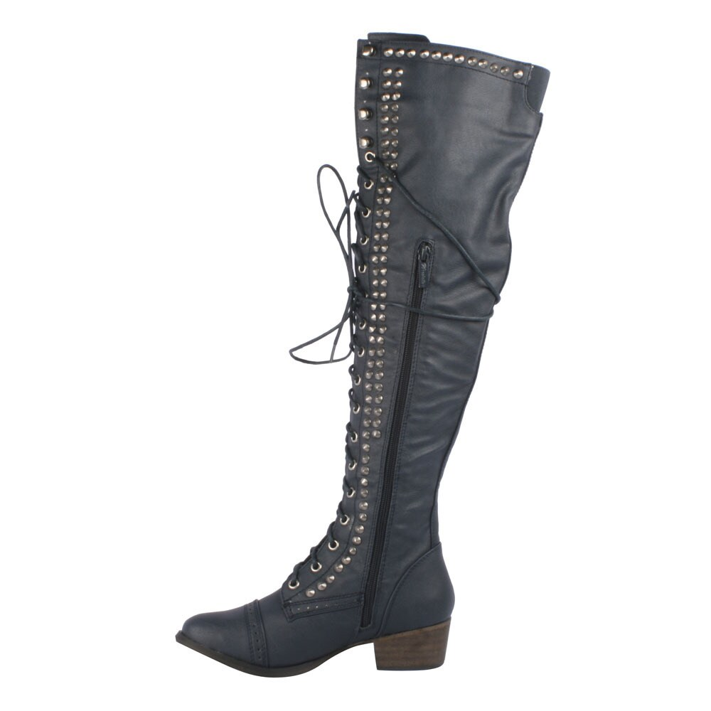 c49609d346b Shop Breckelle s Women s  Alabama-13  Over-the-knee Combat Boots - Free  Shipping Today - Overstock - 8851328