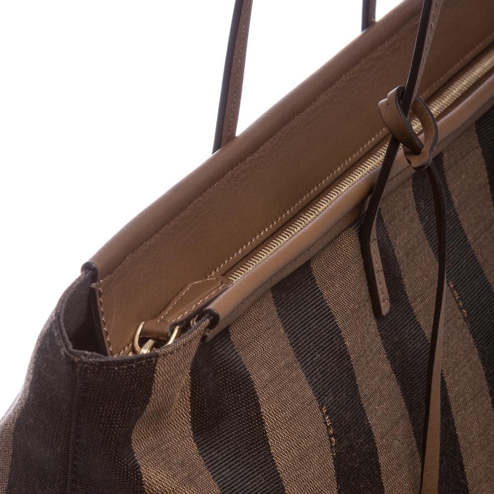 Shop Fendi Tobacco  Tan Pequin-striped Roll Tote - Free Shipping Today -  Overstock.com - 8851372 f641f214b1