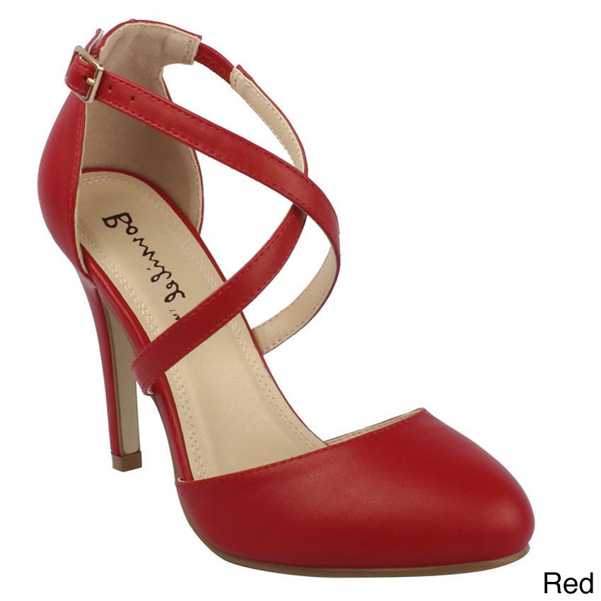 19d9322e4d3 Bonnibel Women's 'ALIA-2' Stiletto Heel Buckle Criss-cross Ankle Strap  Sandals