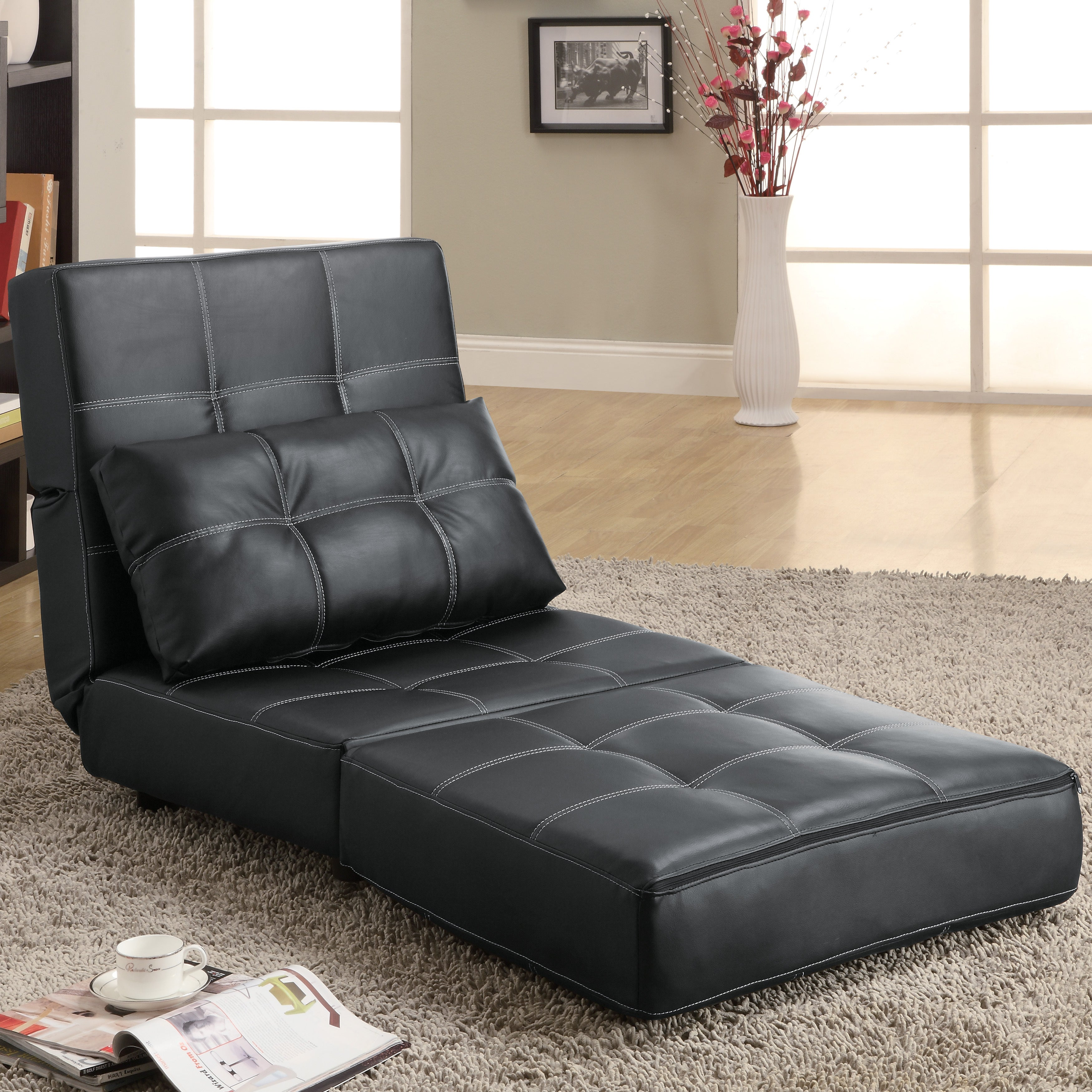 Coaster Company Black Accent Lounge Chair Futon Sofa Bed - Free Shipping  Today - Overstock.com - 16080242