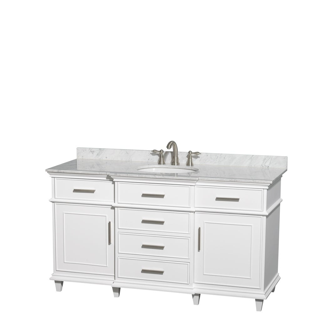 Wyndham Collection Berkeley White 60 Inch Single Bathroom Vanity