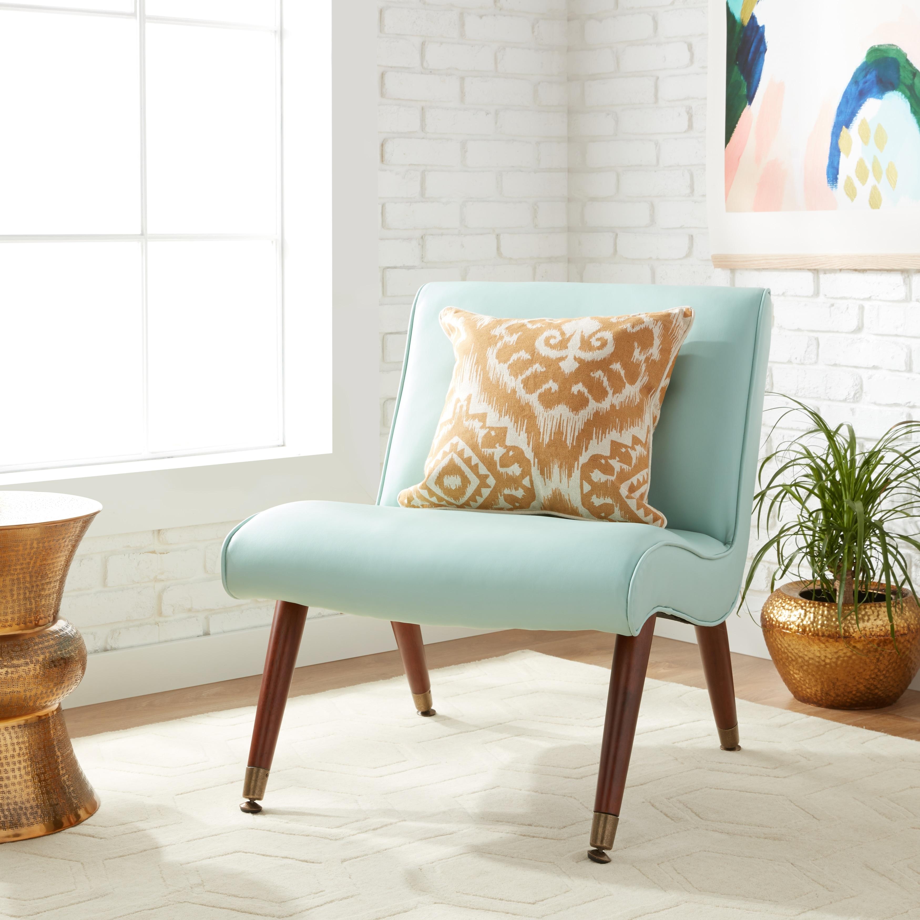 Shop Carson Carrington Mid-century Aqua Bonded Armless Chair - Free ...