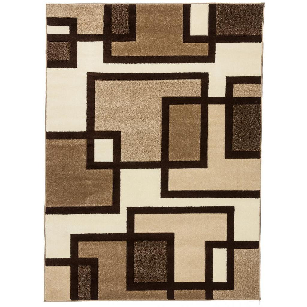 Shop Well Woven Imagine Geometric Squares Modern Beige Brown Ivory