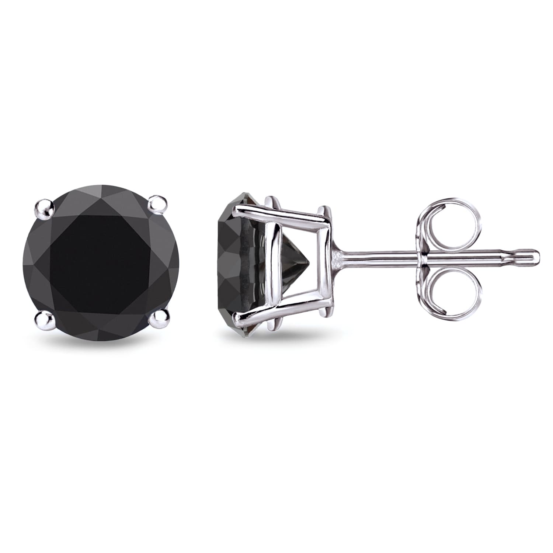 a02a534c666f3 Auriya Round Black Diamond Stud Earrings 1/2ct to 4ct TW 14k White Gold