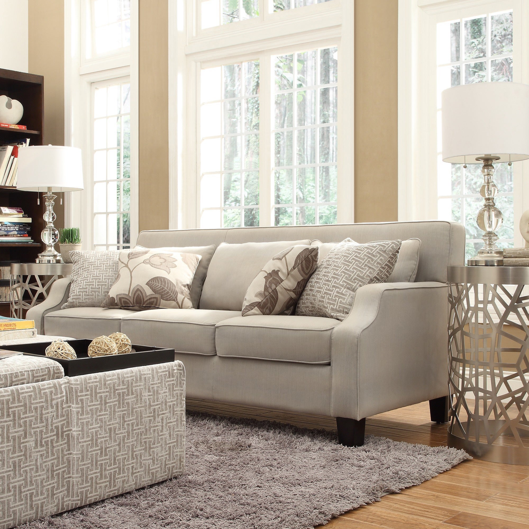 Broadway Grey Fabric Sloped Track Arm Sofa - Free Shipping Today -  Overstock.com - 16086969