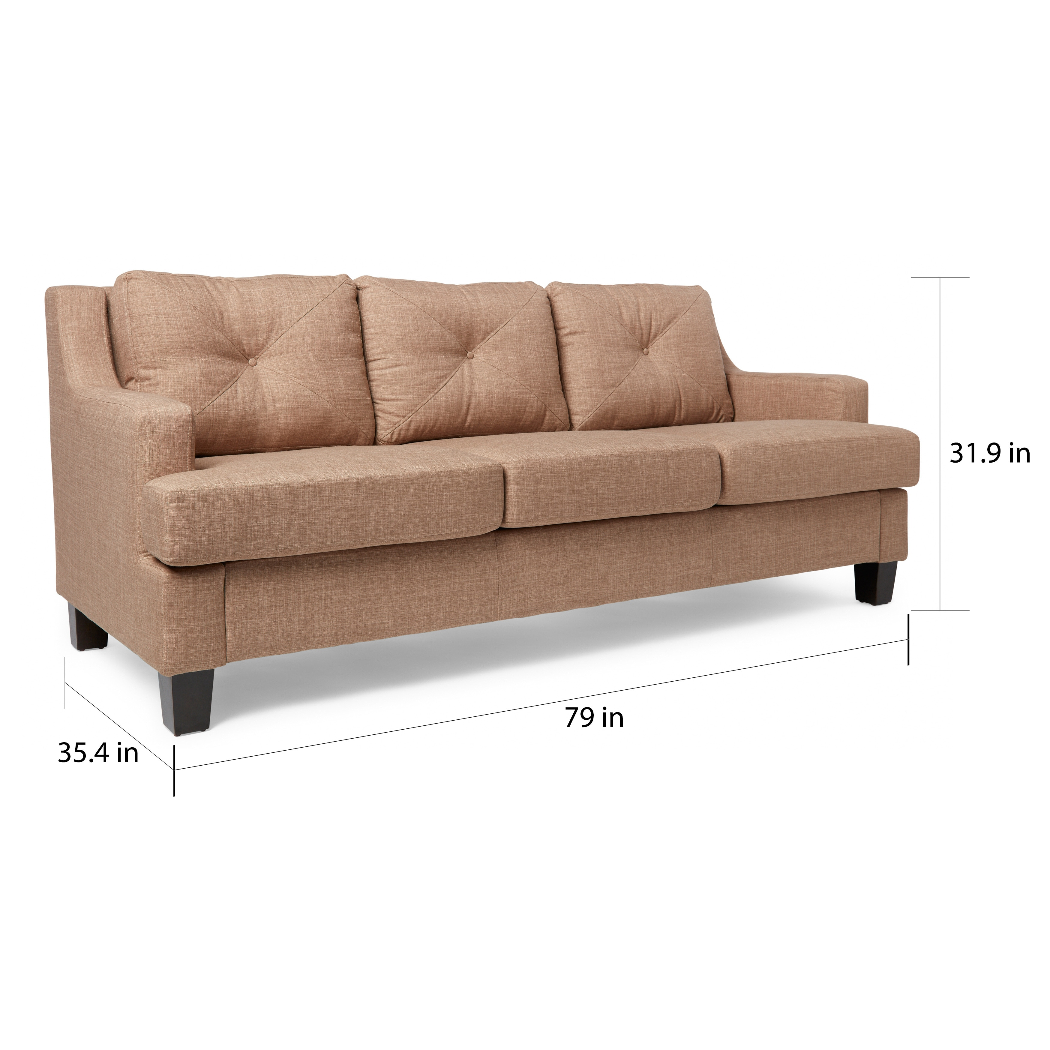 Shop Elston Linen Tufted Sloped Track Sofa INSPIRE Q Modern   On Sale    Free Shipping Today   Overstock.com   8859663