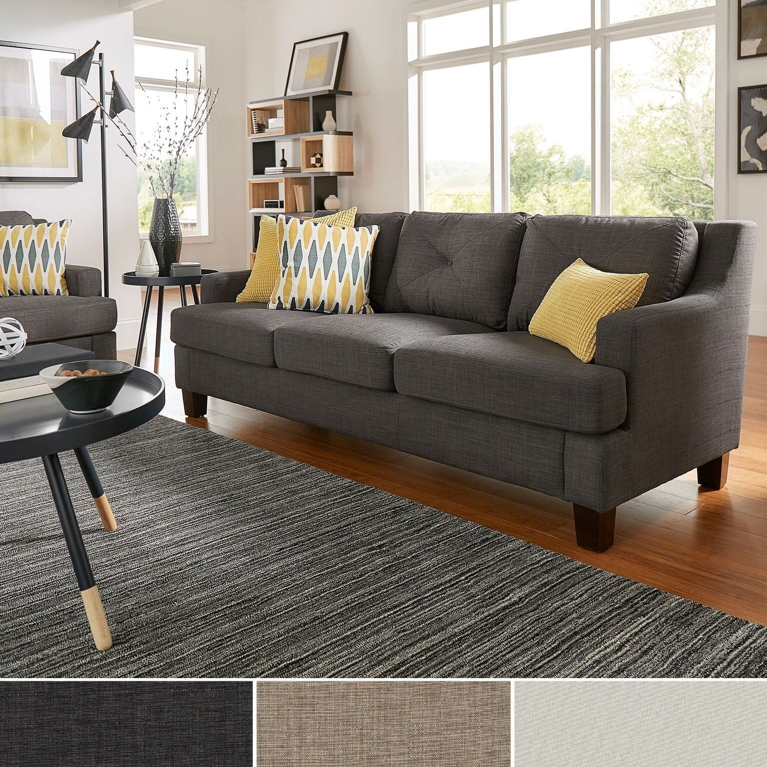 Shop elston linen tufted sloped track sofa inspire q modern free shipping today overstock com 8859663