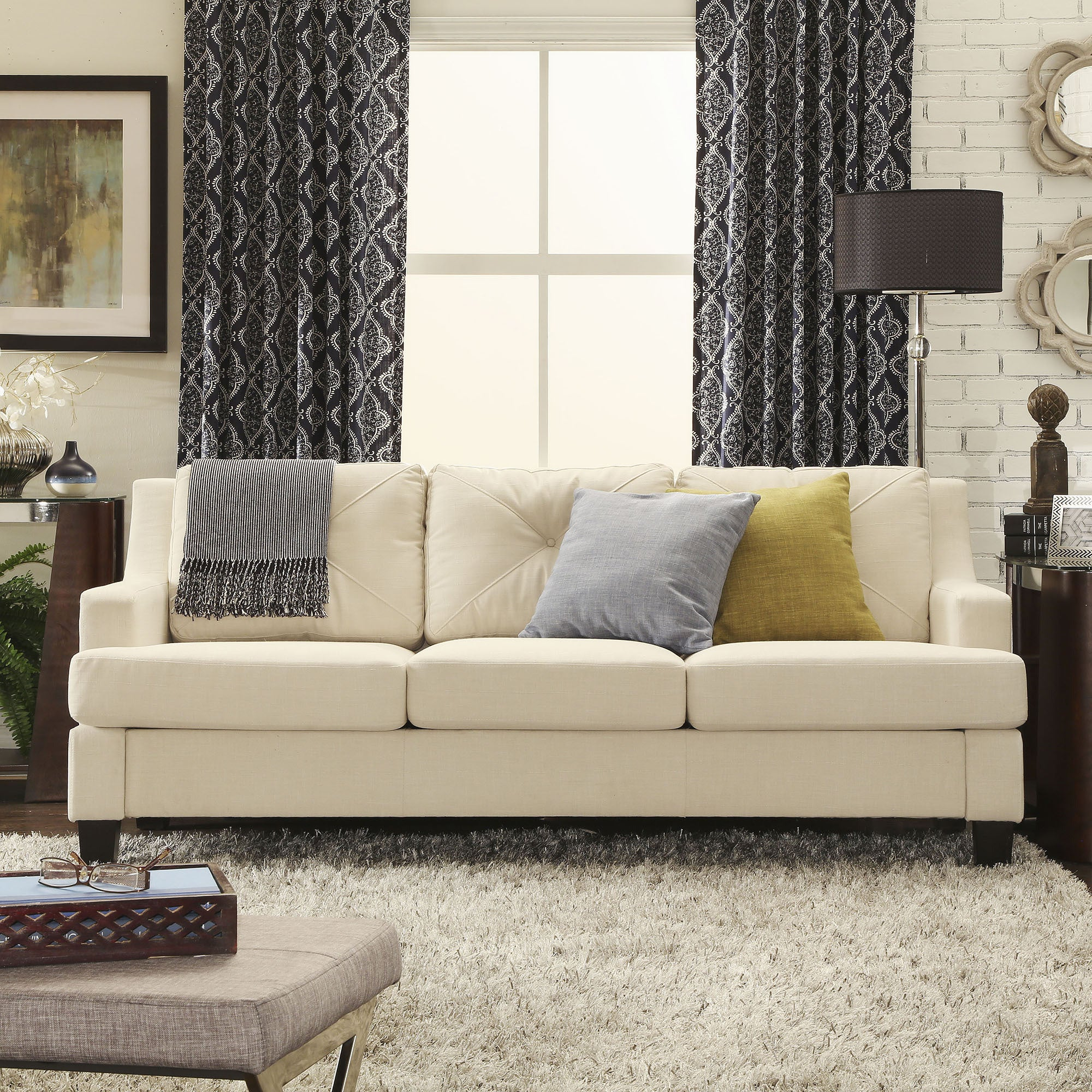 Elston Linen Tufted Sloped Track Sofa iNSPIRE Q Modern - Free Shipping  Today - Overstock.com - 16087013