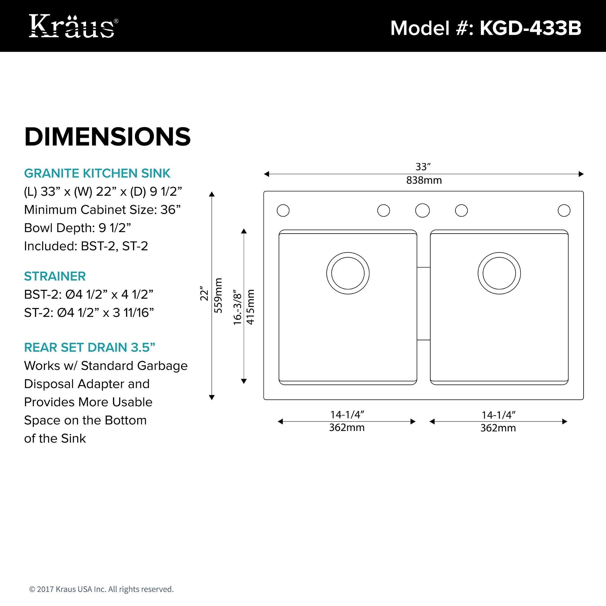 Shop Kraus KGD 433B Undermount Drop In Dual Mount 33 Inch 50/50 Double Bowl  Granite Kitchen Sink In Black Onyx   Free Shipping Today   Overstock.com    ...