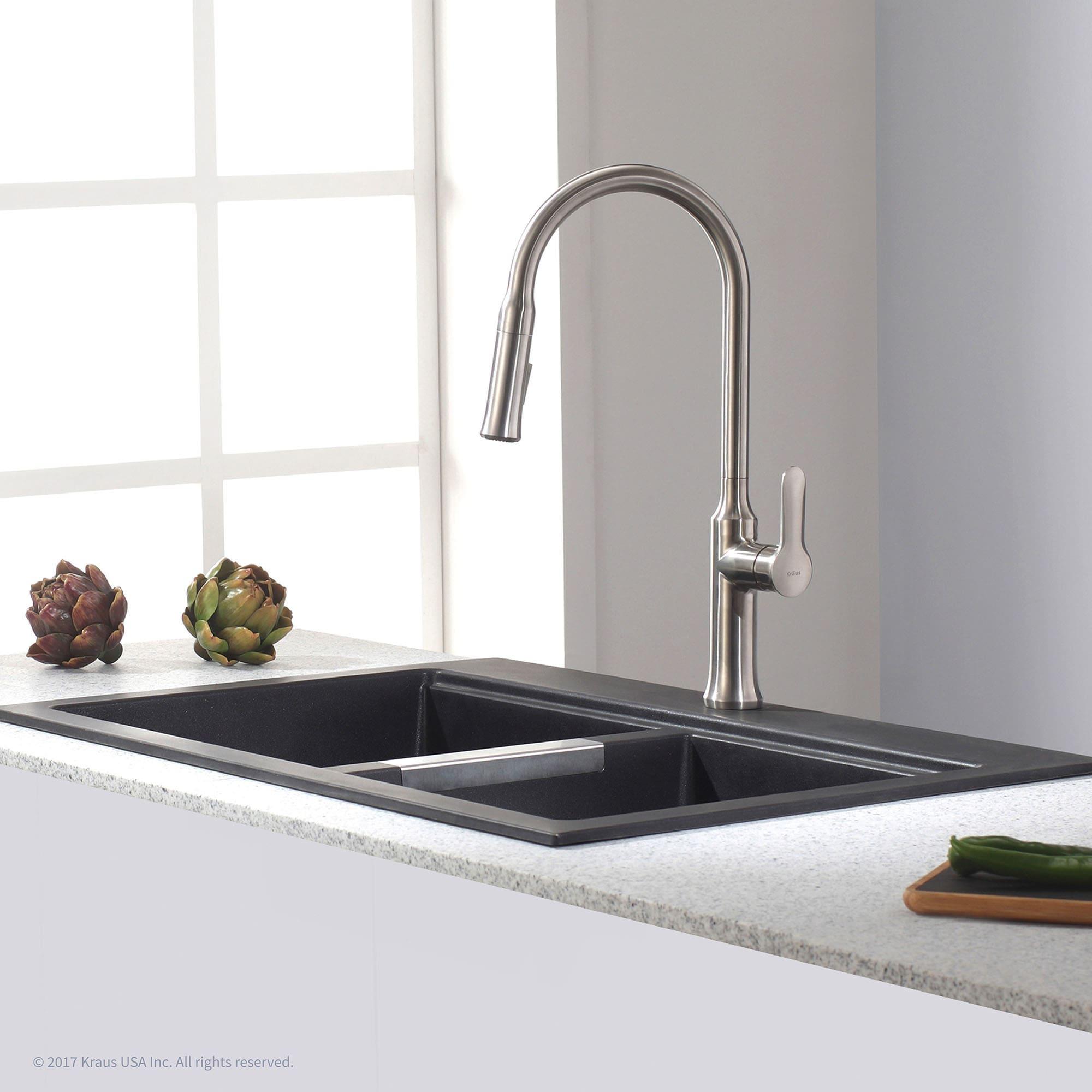KRAUS 33-inch Dual Mount 50/50 Double Bowl Granite Kitchen Sink w ...