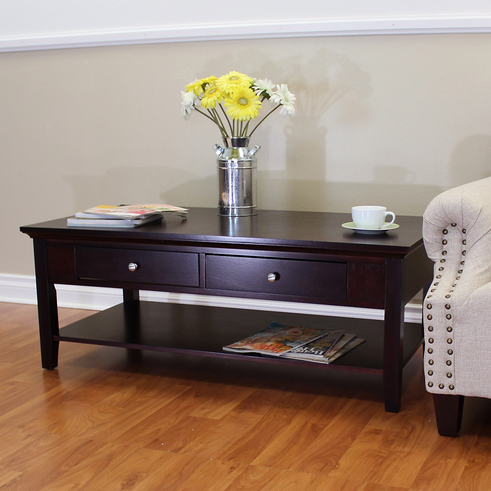 Ferndale Two Drawer Espresso Coffee Table Free Shipping Today 16088373