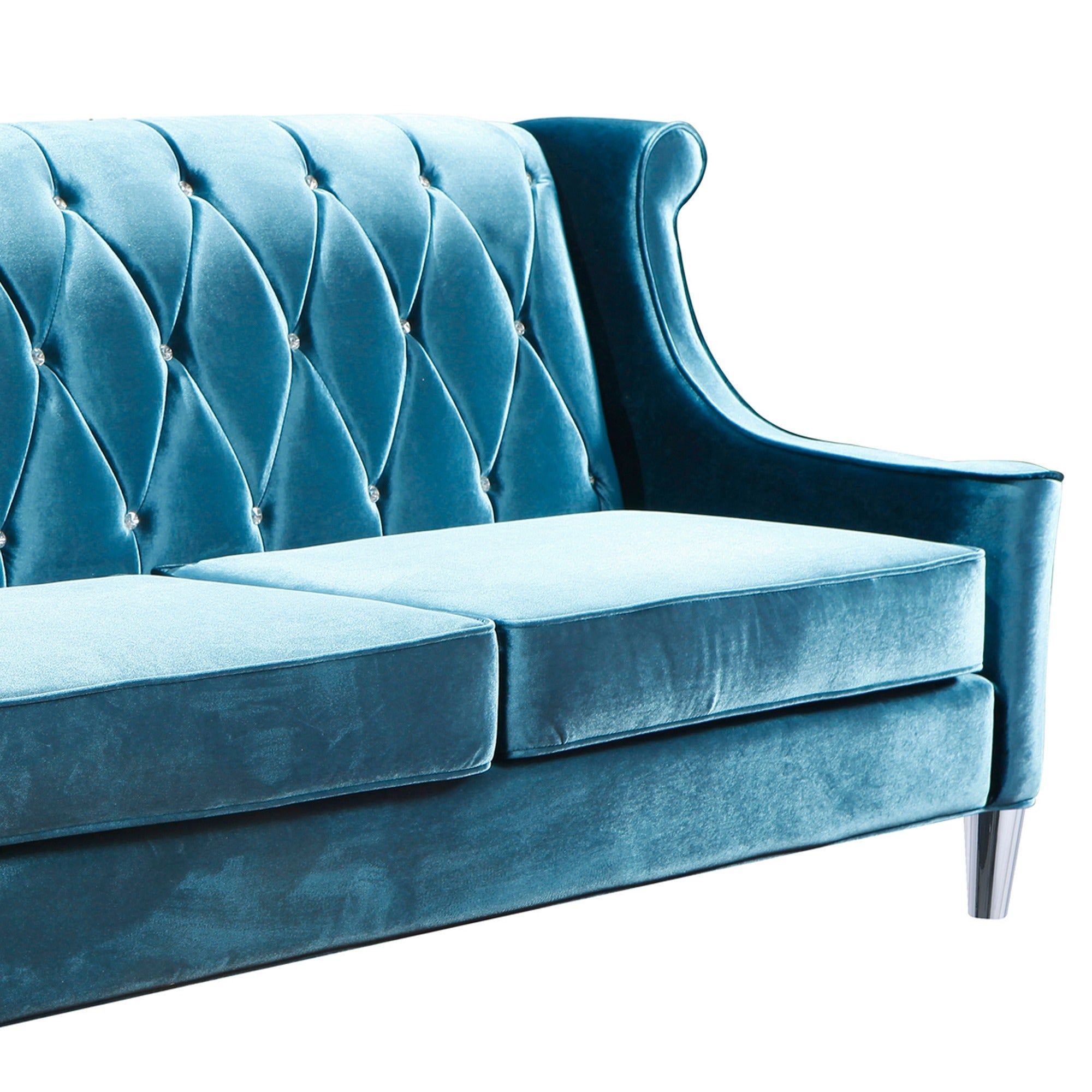 Shop Armen Living Barrister Blue Velvet Crystal Button Tufted Sofa   Free  Shipping Today   Overstock.com   8865694