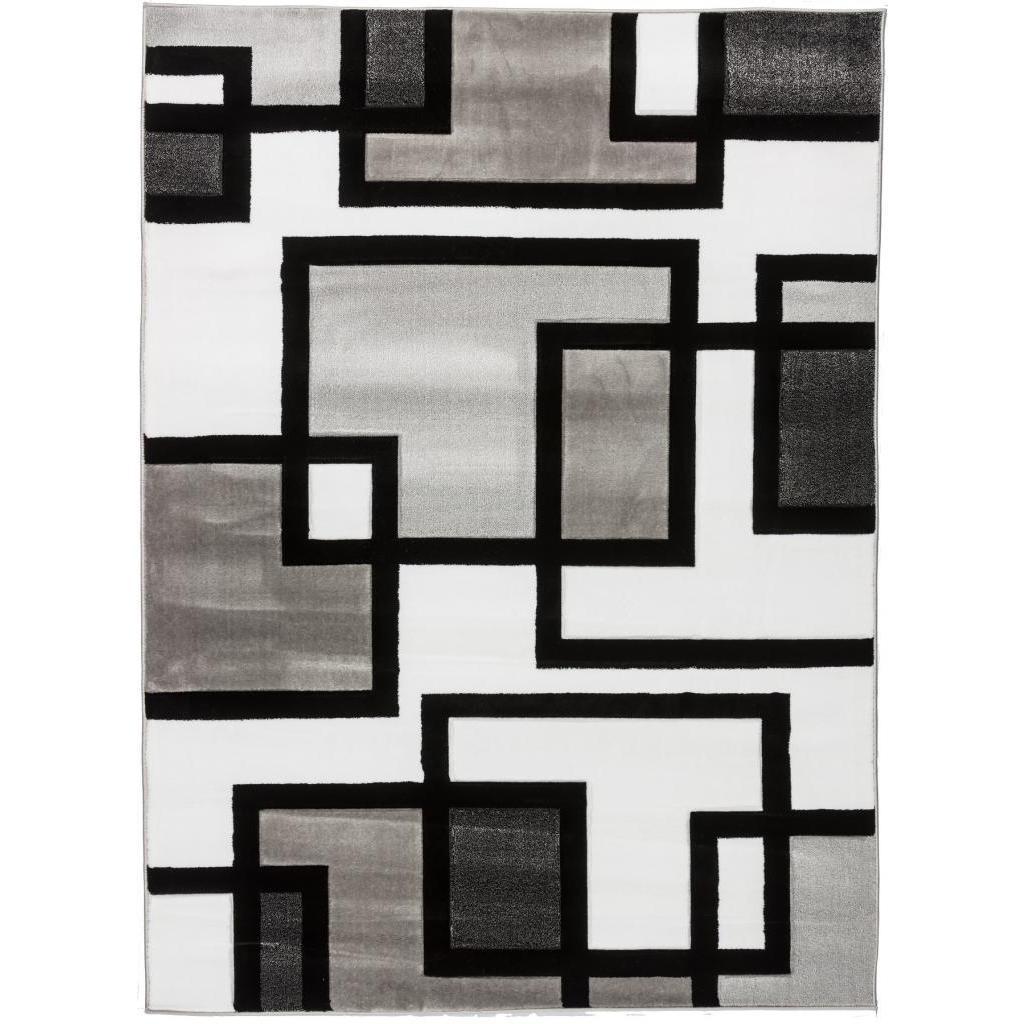 shop well woven blocks in blocks black white area rug 5 3 x 7 3