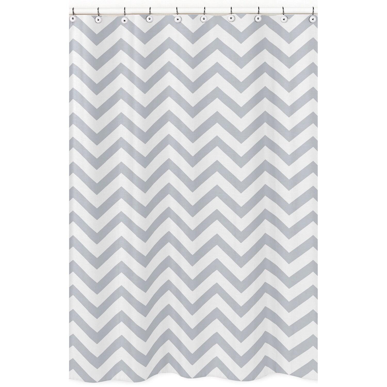 Sweet Jojo Designs Grey White Chevron Zigzag Shower Curtain Free
