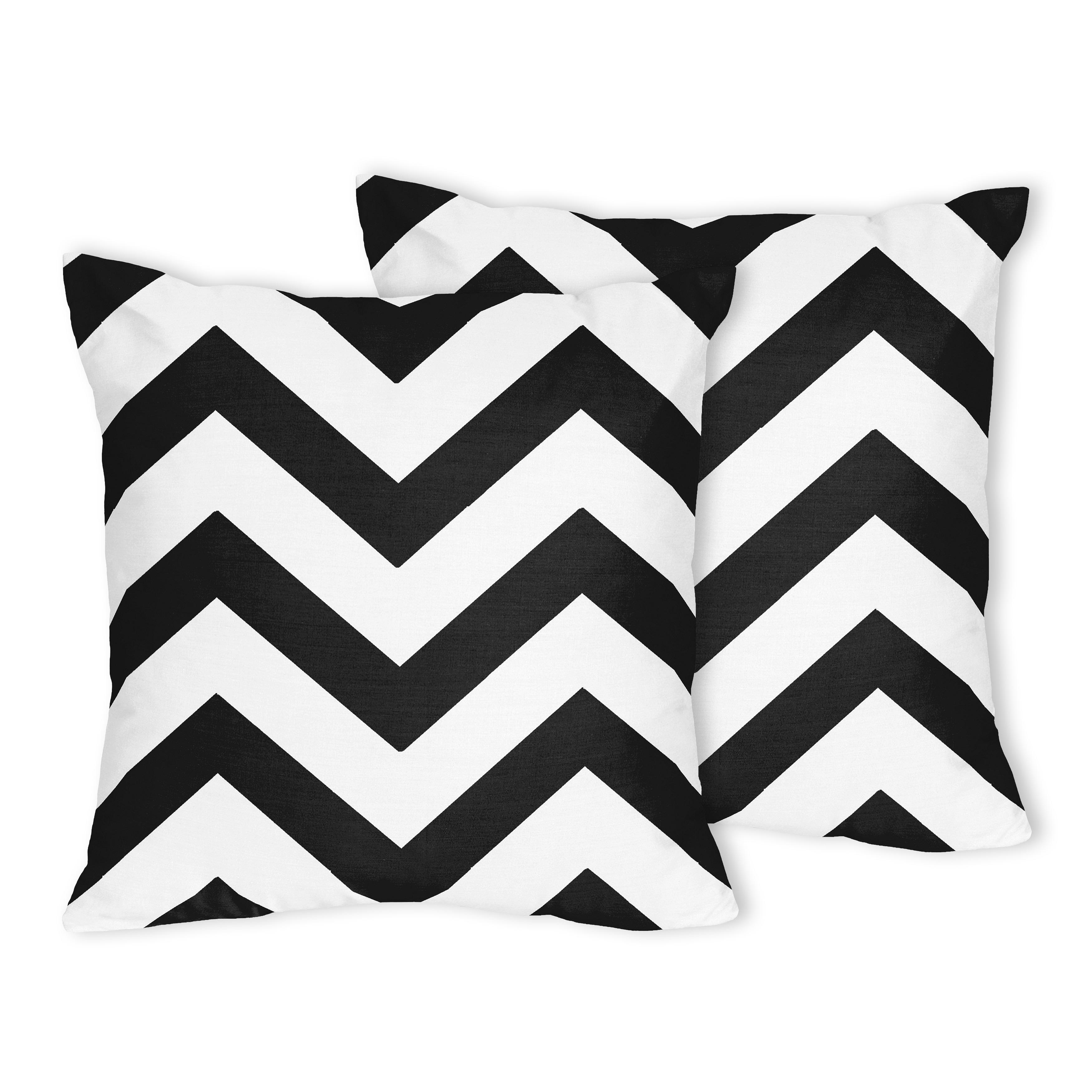 Sweet Jojo Designs Zig Zag Black and White Chevron Throw Pillows ...