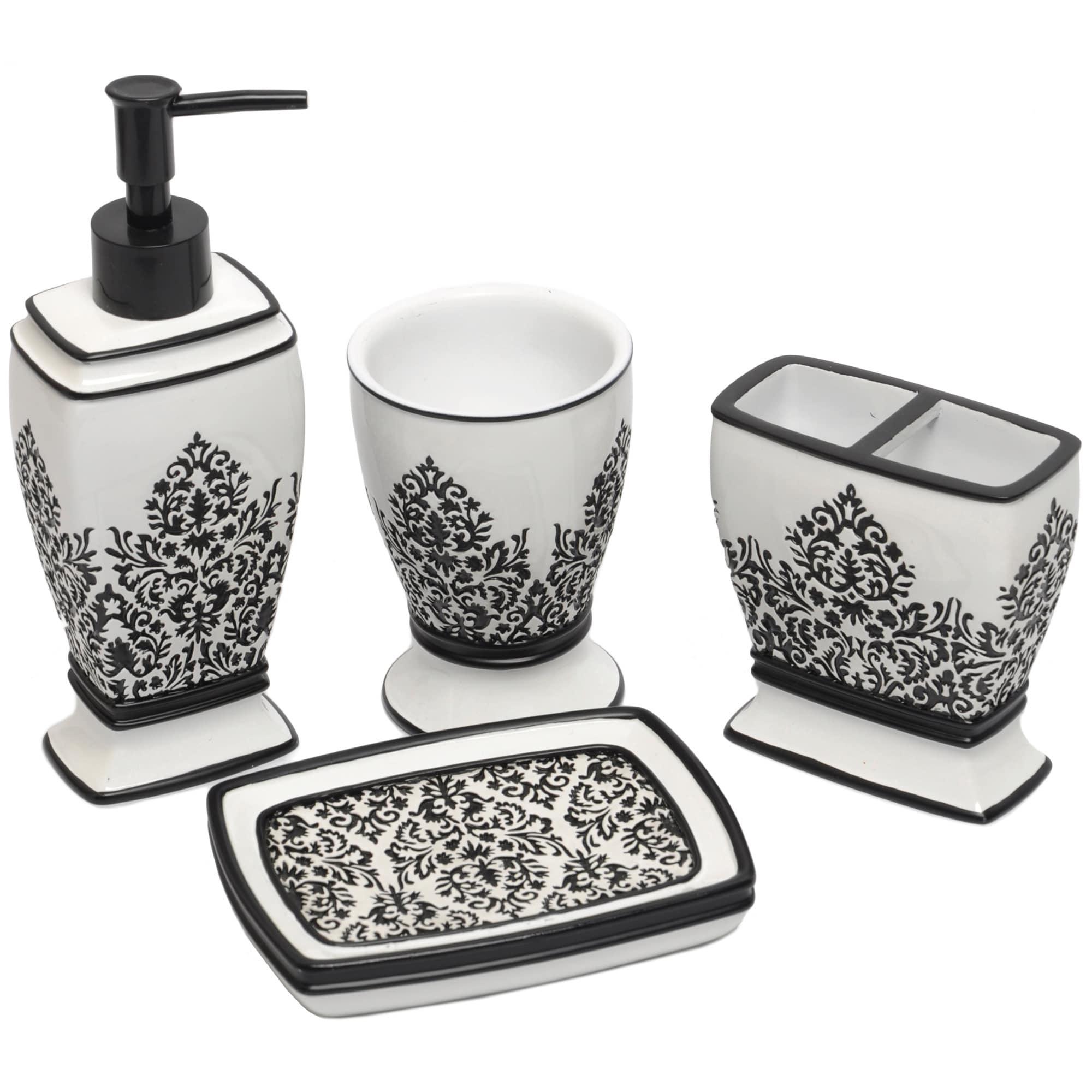 Shop Black/ White Damask Bath Accessory 4-piece Set - Free Shipping ...