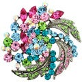Multicolor Flower Wedding Crystal Pin Brooch