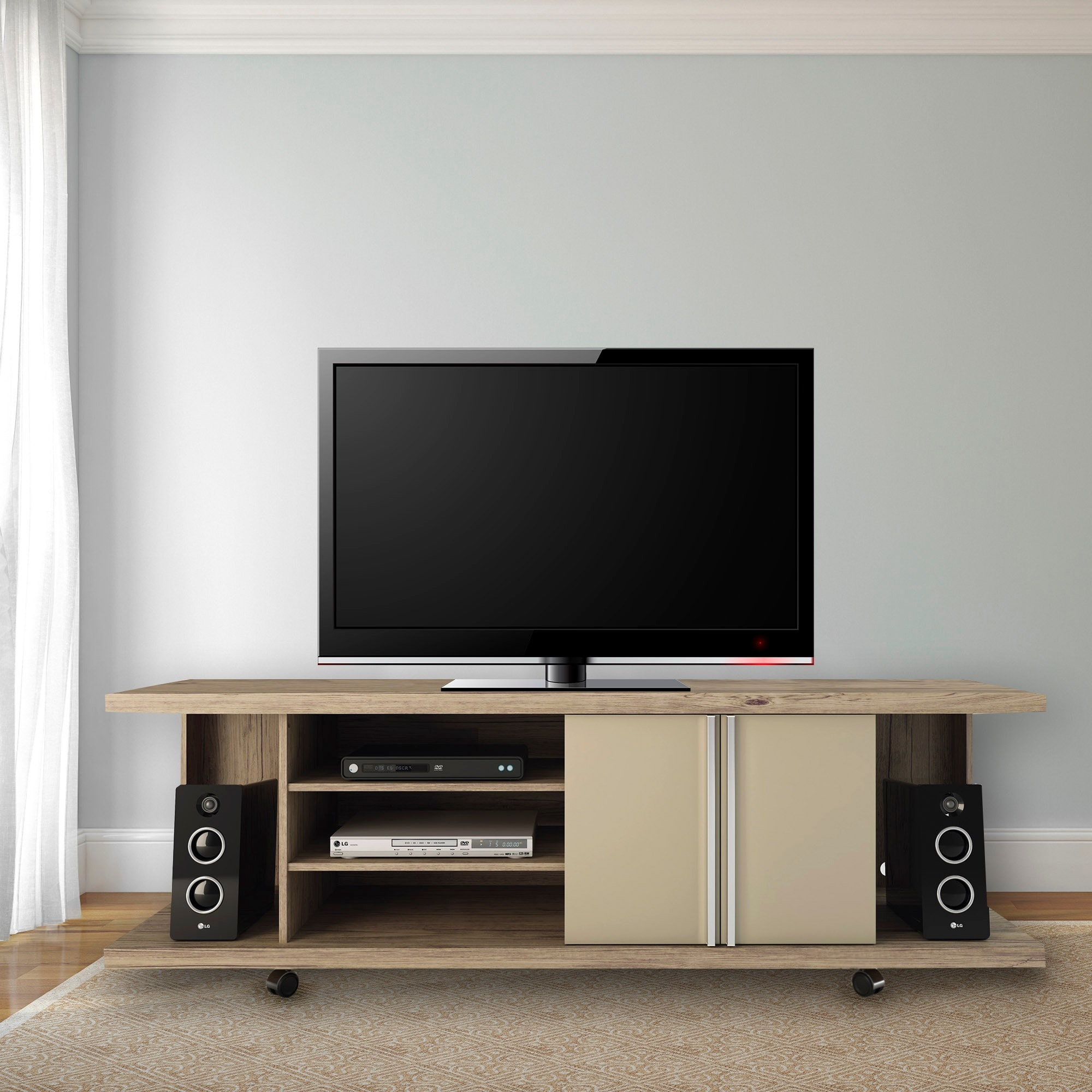 Manhattan Comfort Carnegie 5 Shelf Nature And 71 Inch Tv Stand On Free Shipping Today 8875126