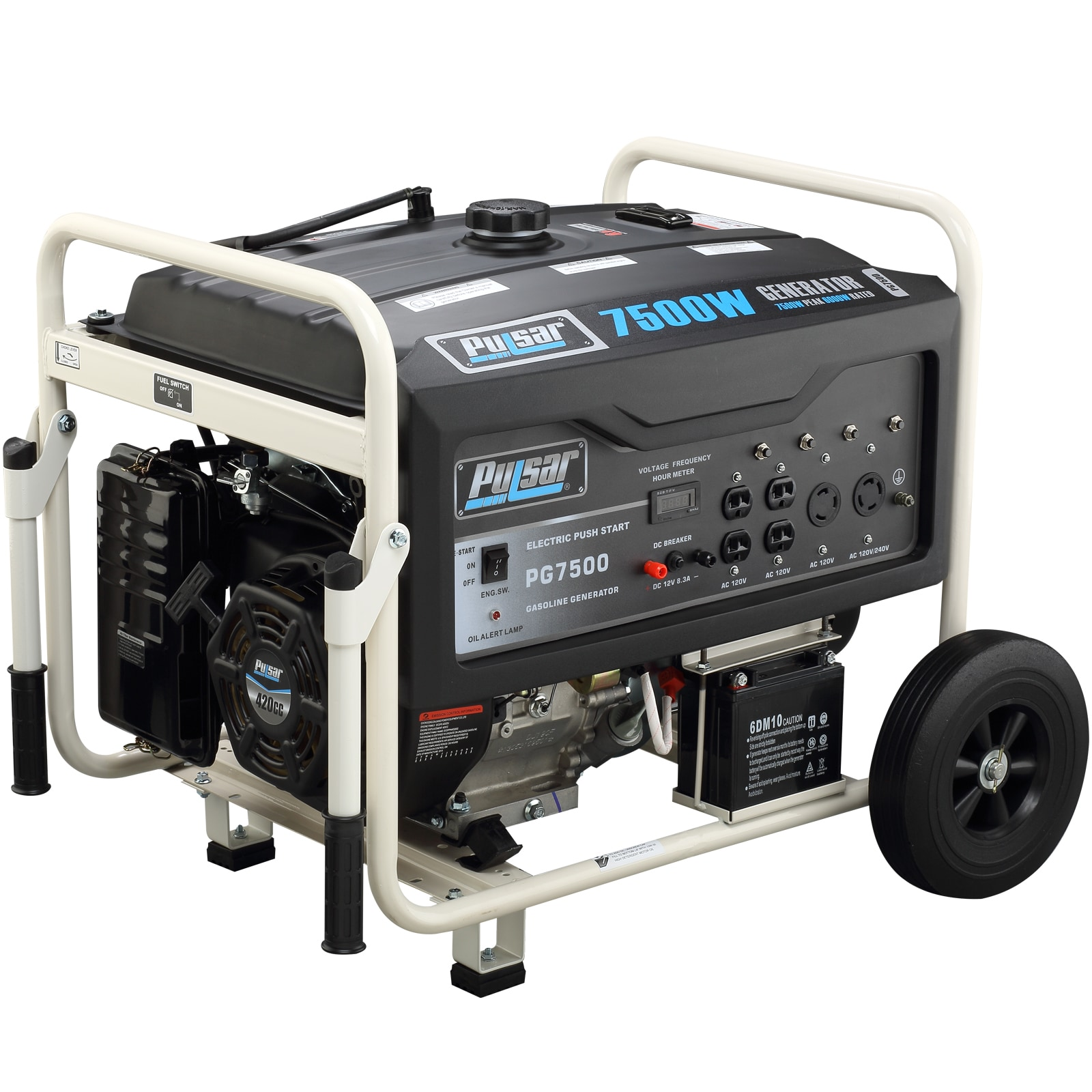 Pulsar Products 7 500 Watt Gasoline Powered Portable Generator