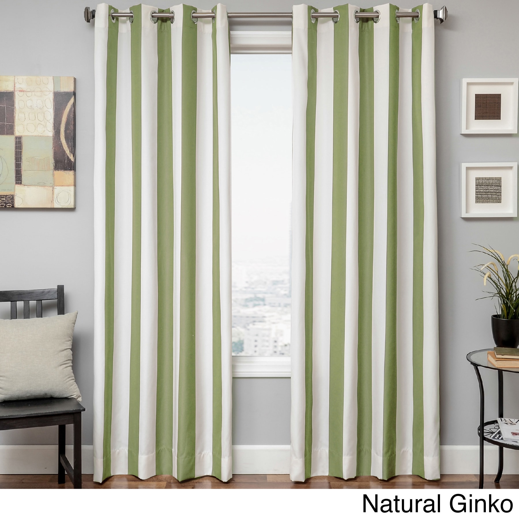 Softline Sunbrella Cabana Stripe Indoor/Outdoor Curtain Panel - Free  Shipping Today - Overstock.com - 16100618