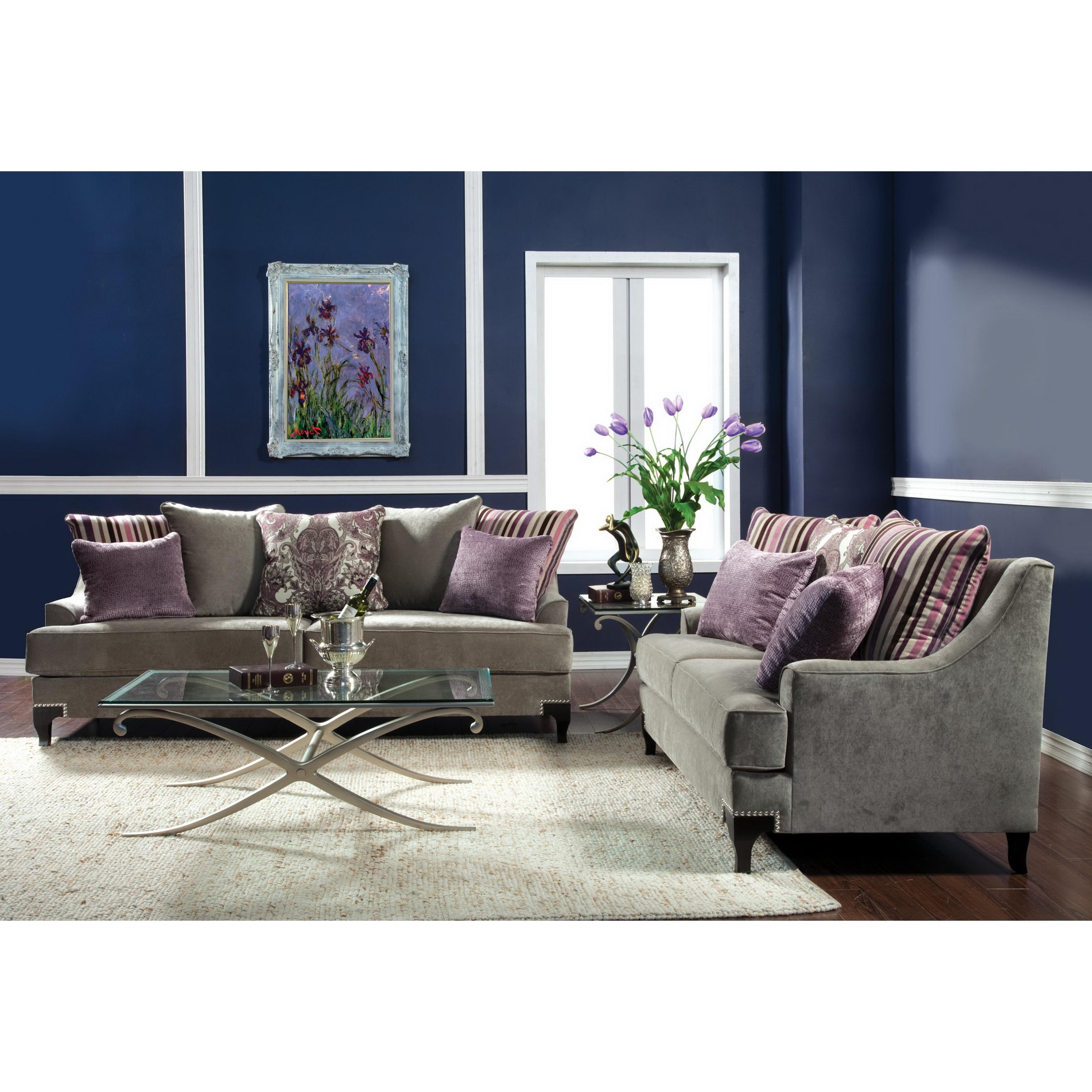 Furniture of america visconti 2 piece velvet sofa and loveseat set