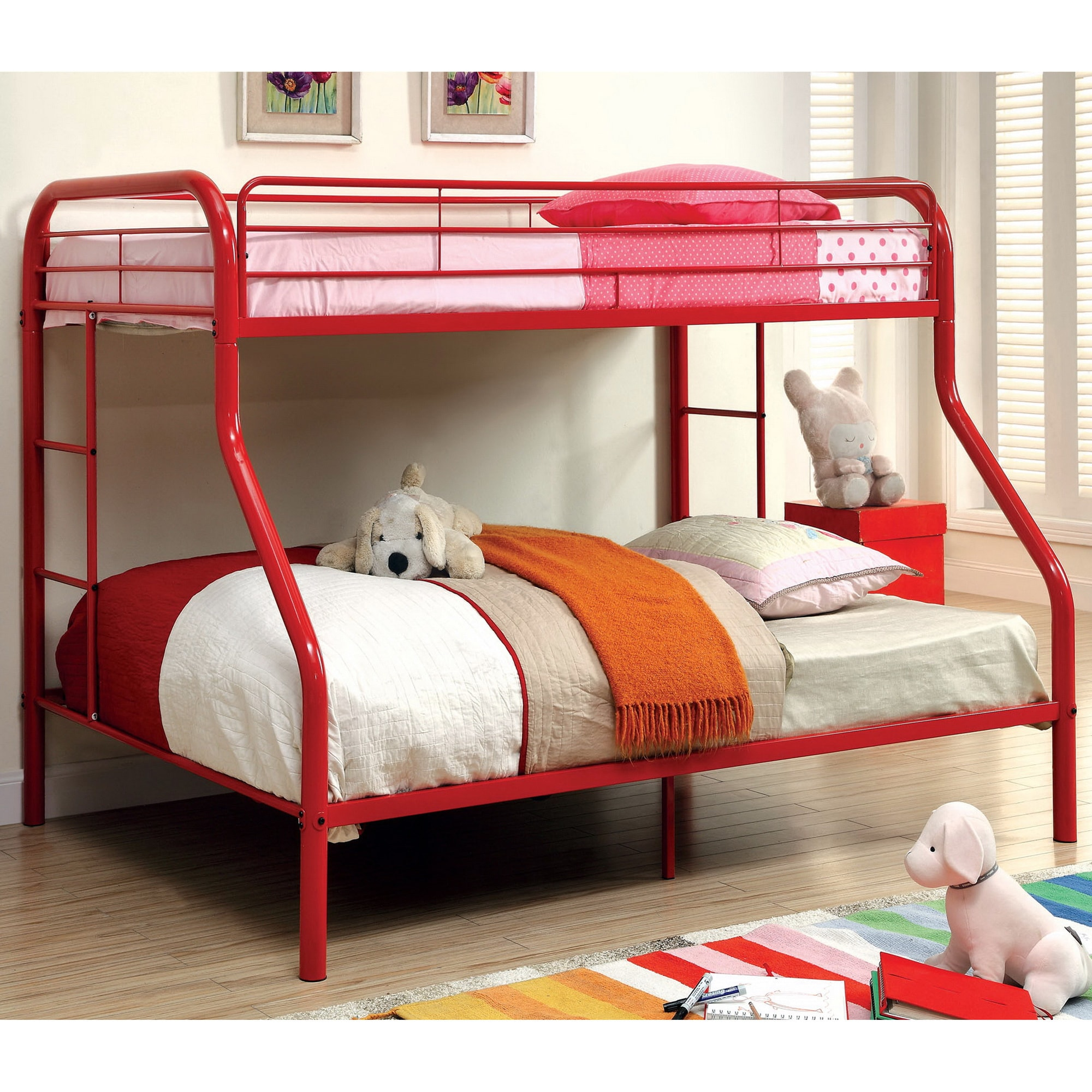 Furniture of America Linden Twin Over Full Metal Bunk Bed - Free Shipping  Today - Overstock.com - 16100962