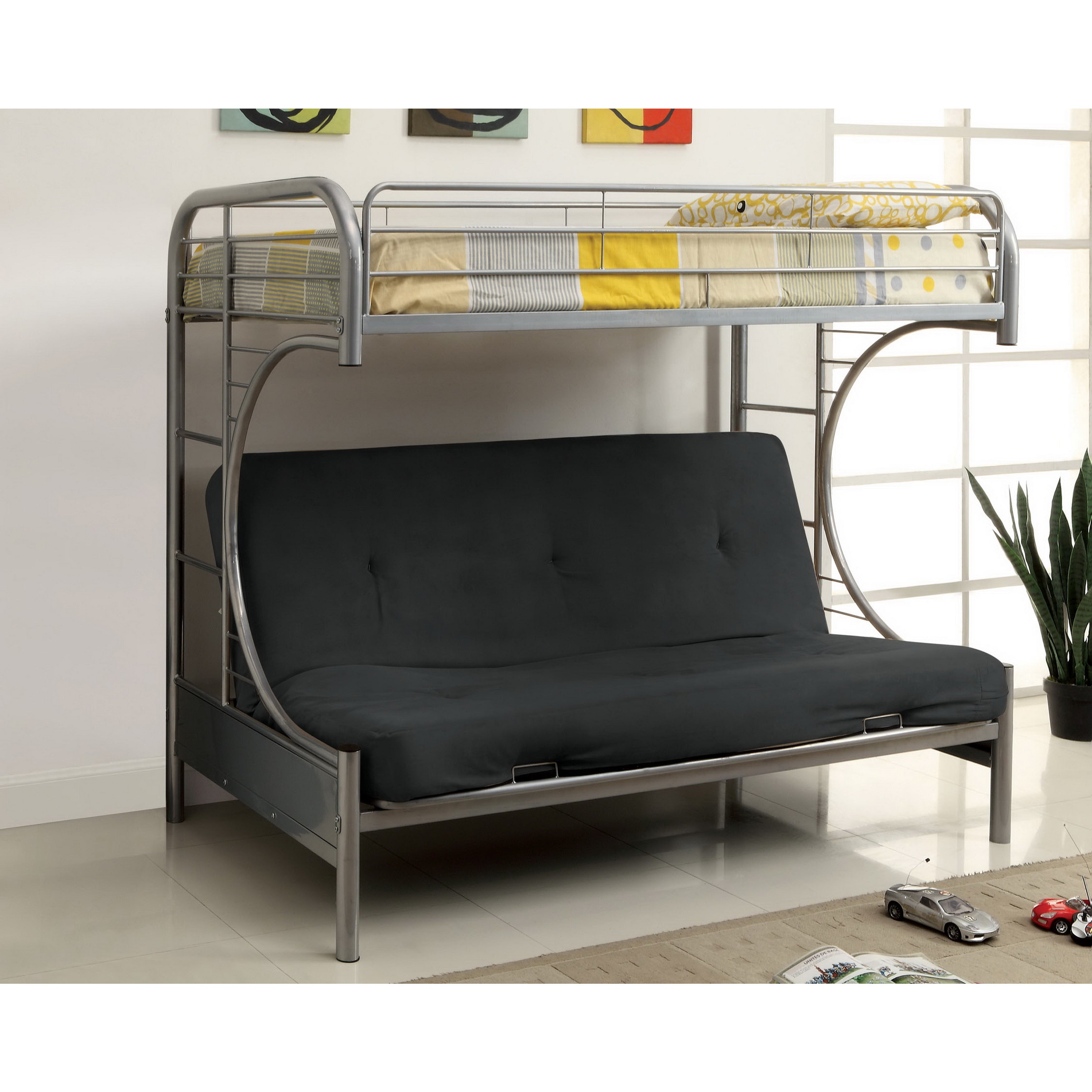 Shop Furniture Of America Linden Twin Over Futon Metal Bunk Bed
